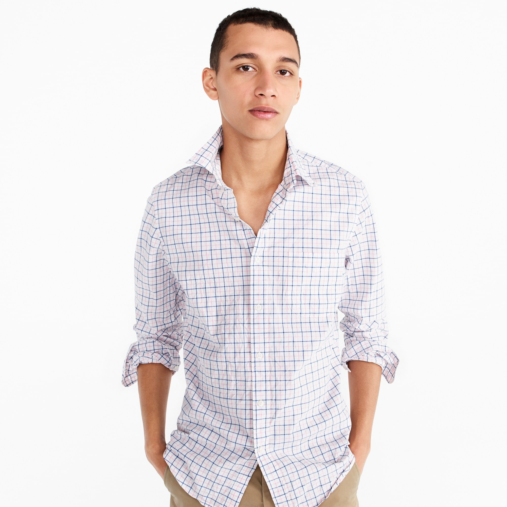 Image 1 for Tall stretch Secret Wash shirt in light pink check