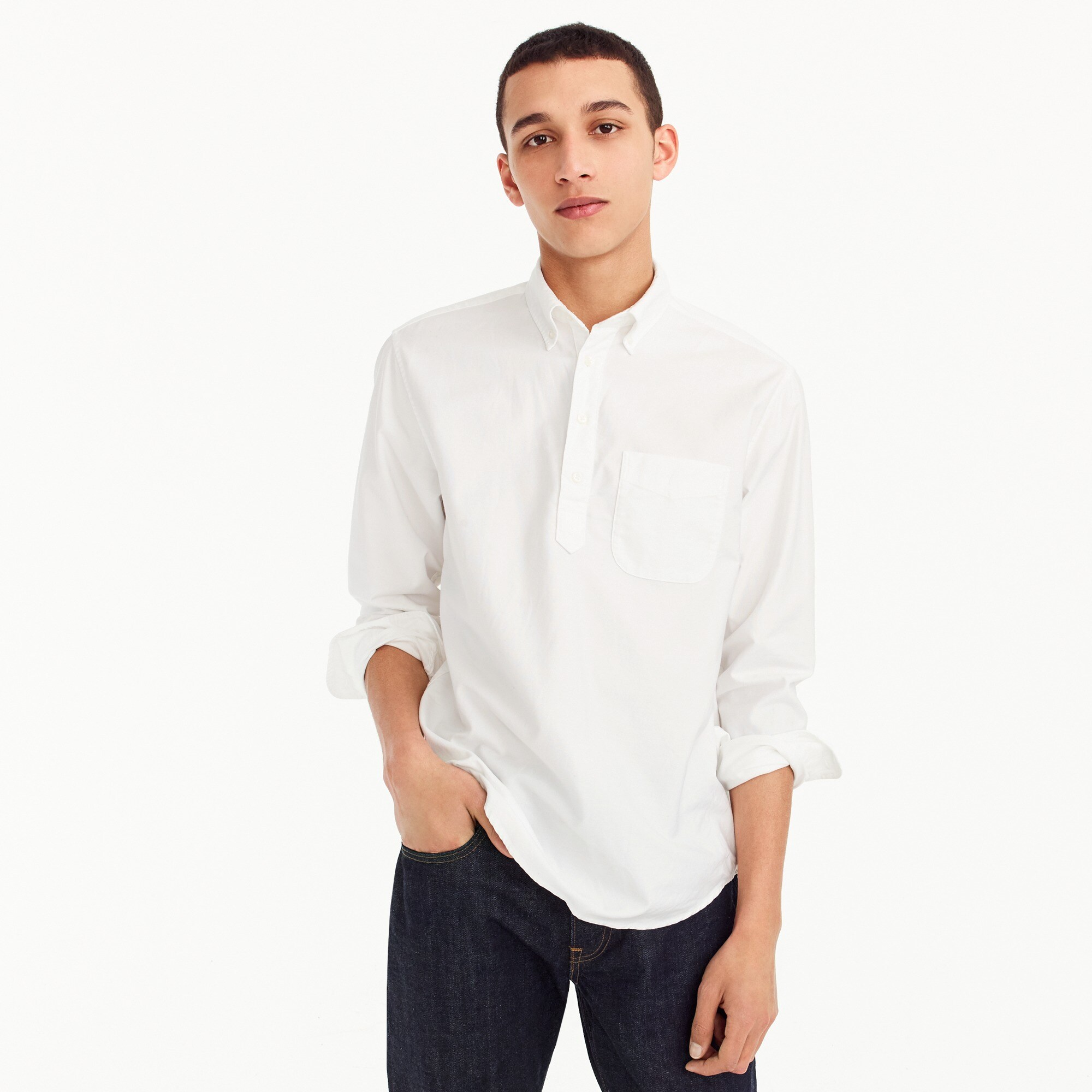 Stretch popover shirt in American Pima oxford cotton men new arrivals c