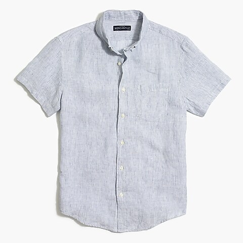 factory mens Slim-fit short-sleeve linen shirt