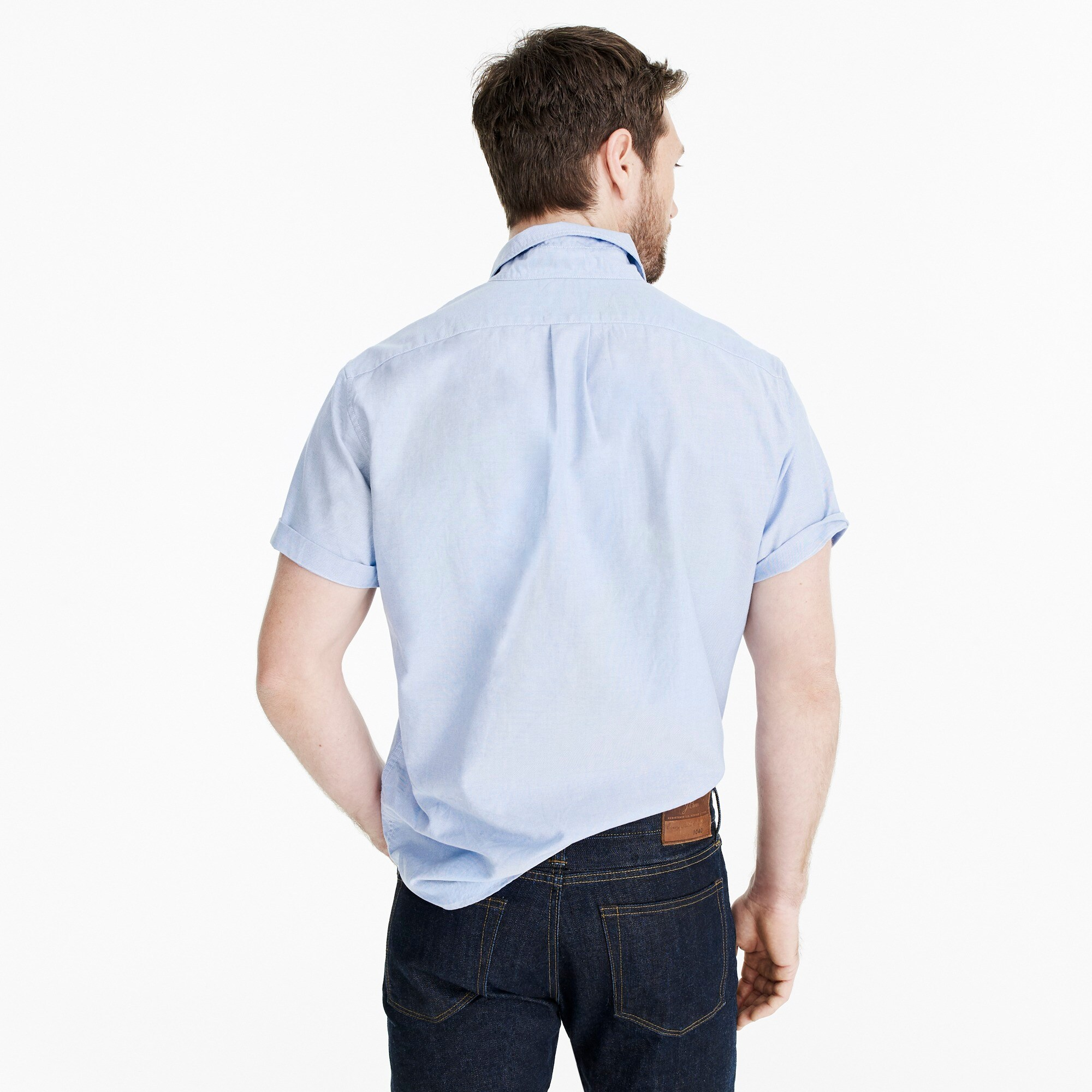 Image 3 for Slim stretch short-sleeve American Pima cotton oxford shirt