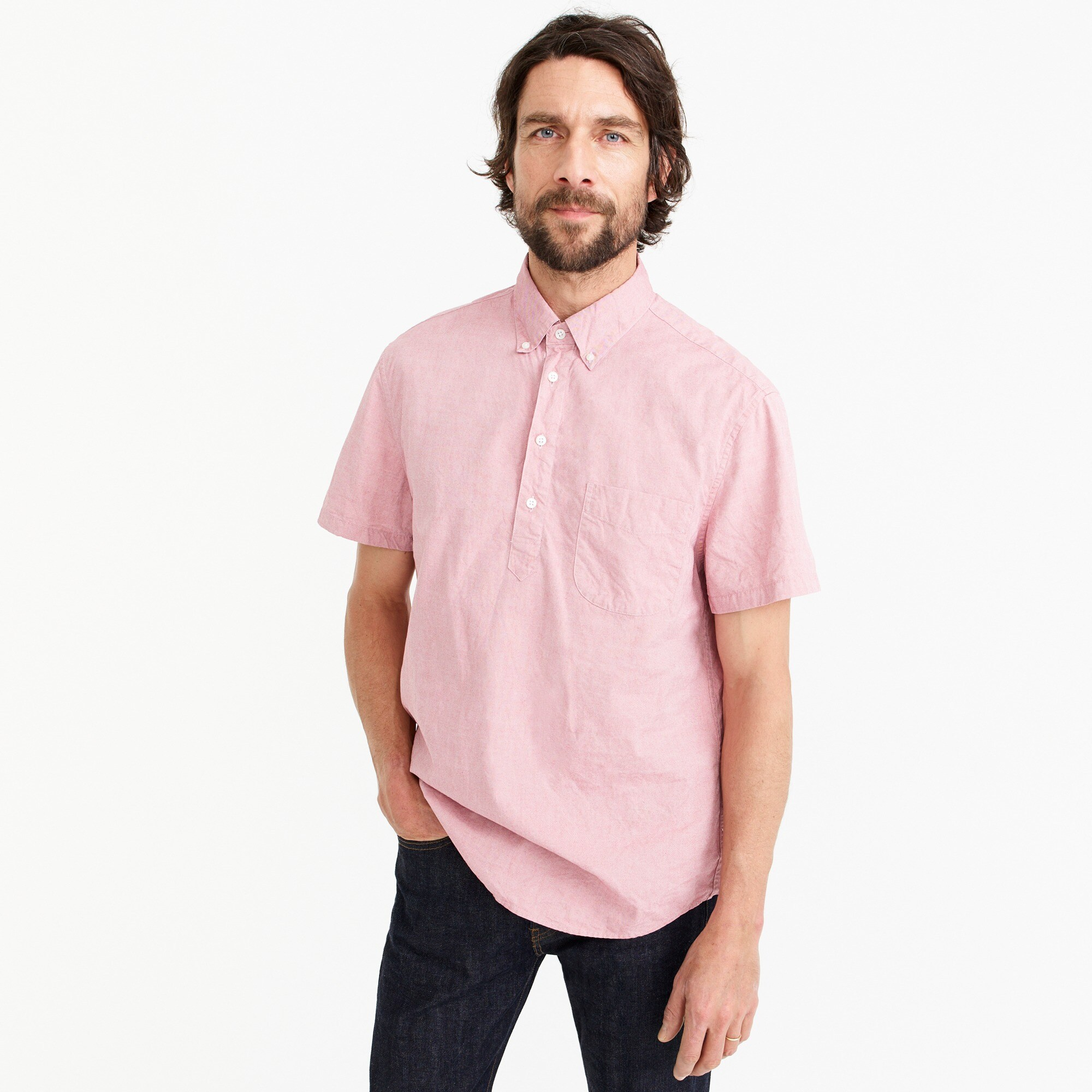 Stretch short-sleeve Secret Wash popover shirt in pinpoint oxford men casual shirts c
