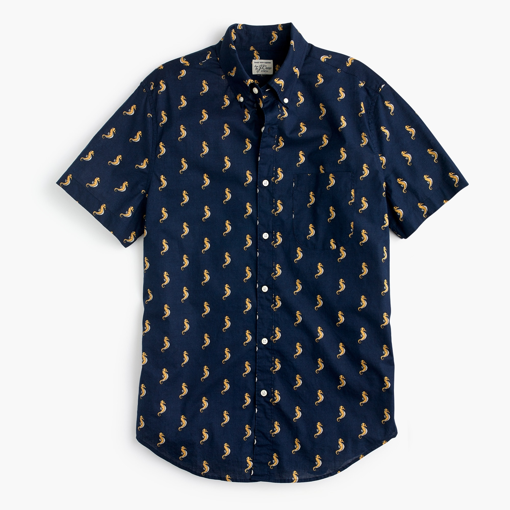 Tall stretch short-sleeve Secret Wash shirt in seahorse print