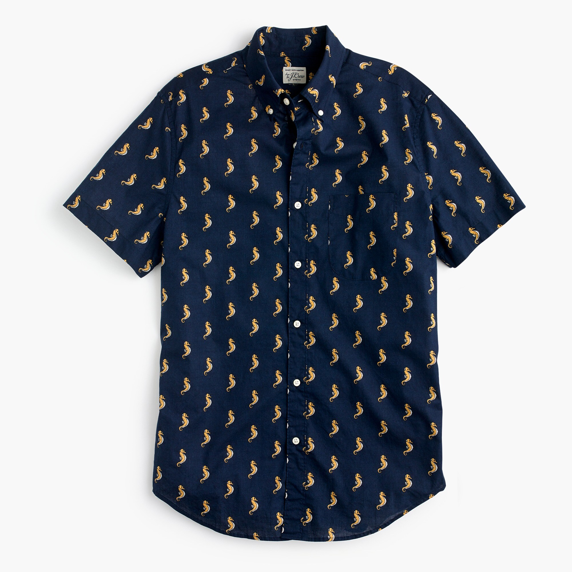 Slim stretch short-sleeve Secret Wash shirt in seahorse print