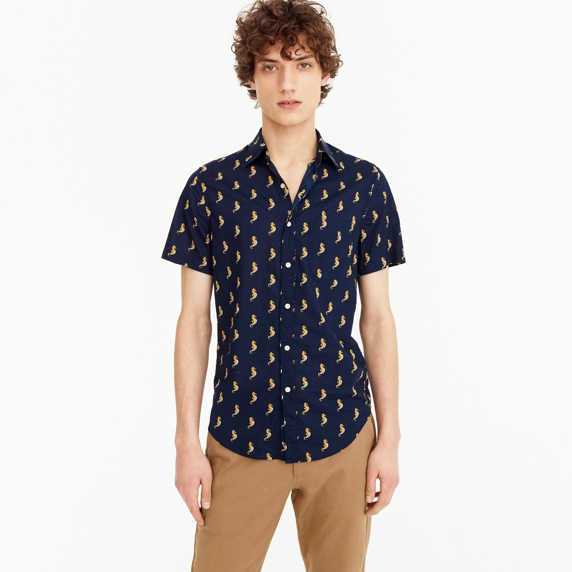 Image 1 for Slim stretch short-sleeve Secret Wash shirt in seahorse print