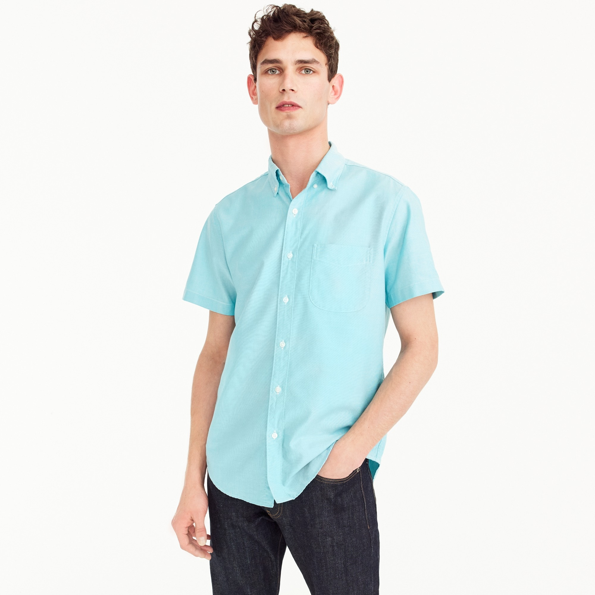 Short-sleeve stretch American Pima oxford shirt in turquoise men casual shirts c