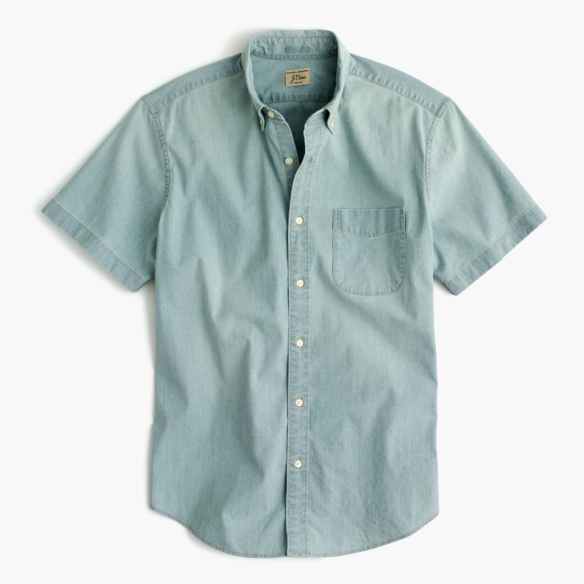 mens Slim stretch short-sleeve shirt in light wash chambray