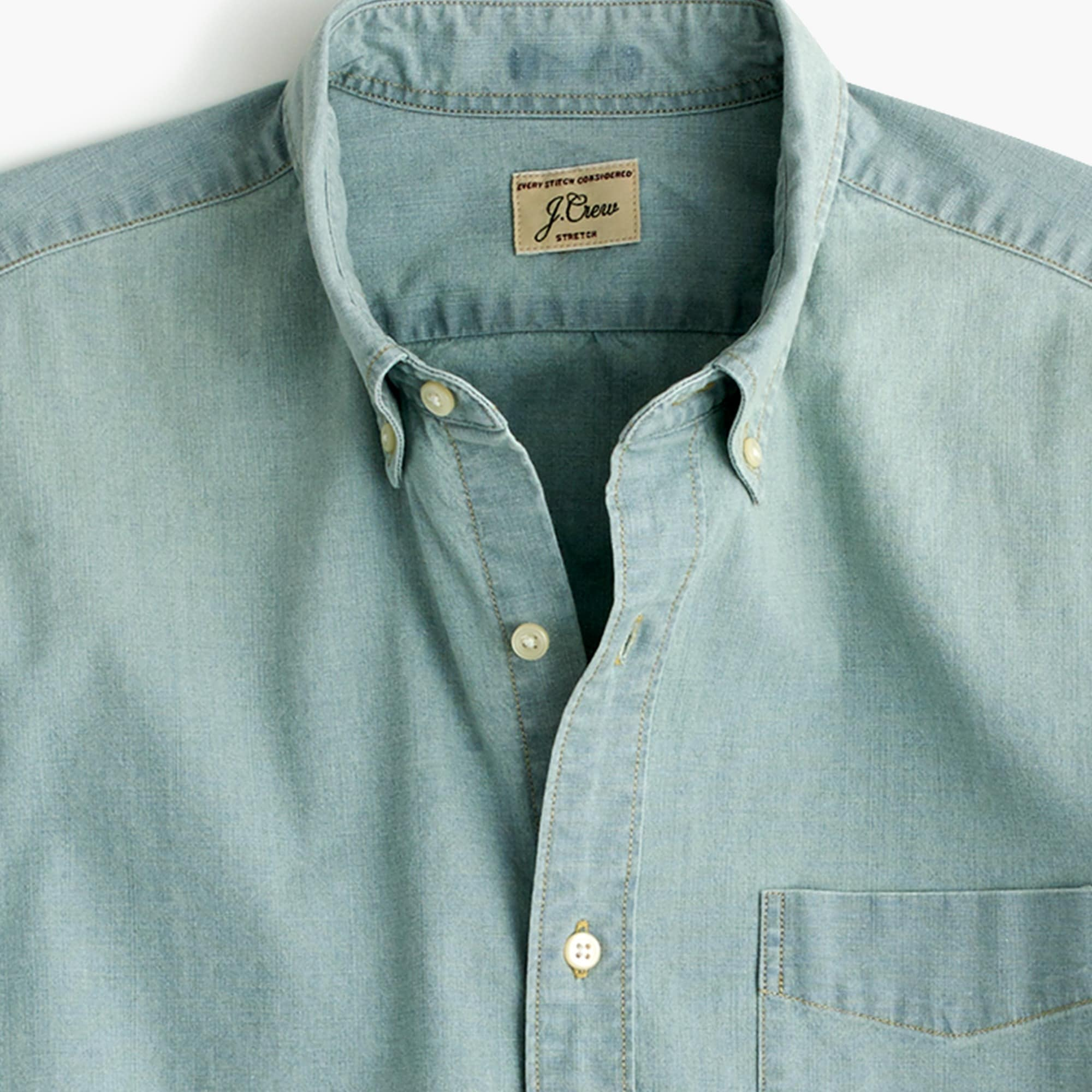 Tall stretch short-sleeve shirt in light wash chambray