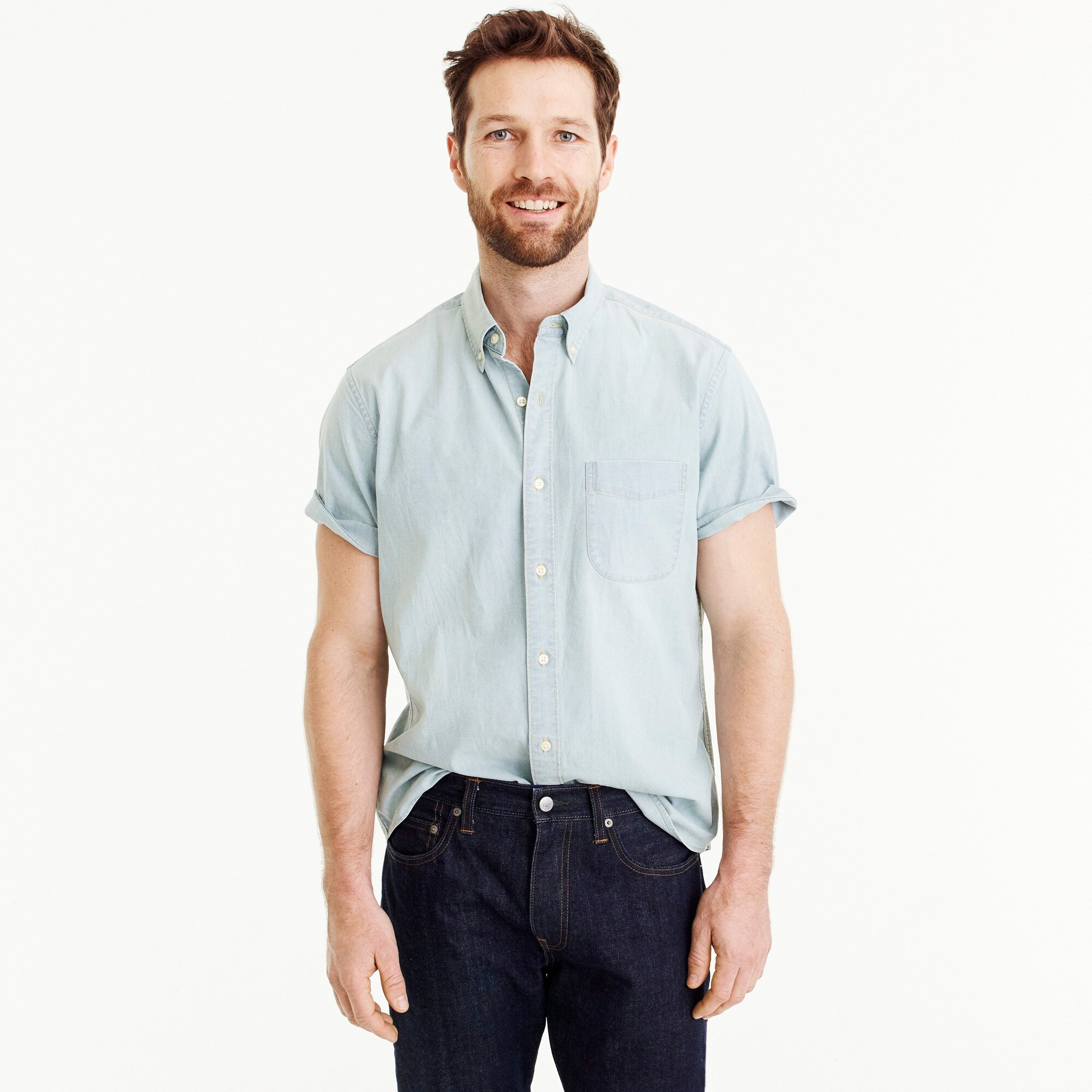 men's tall stretch short-sleeve shirt in light wash chambray - men's woven shirts