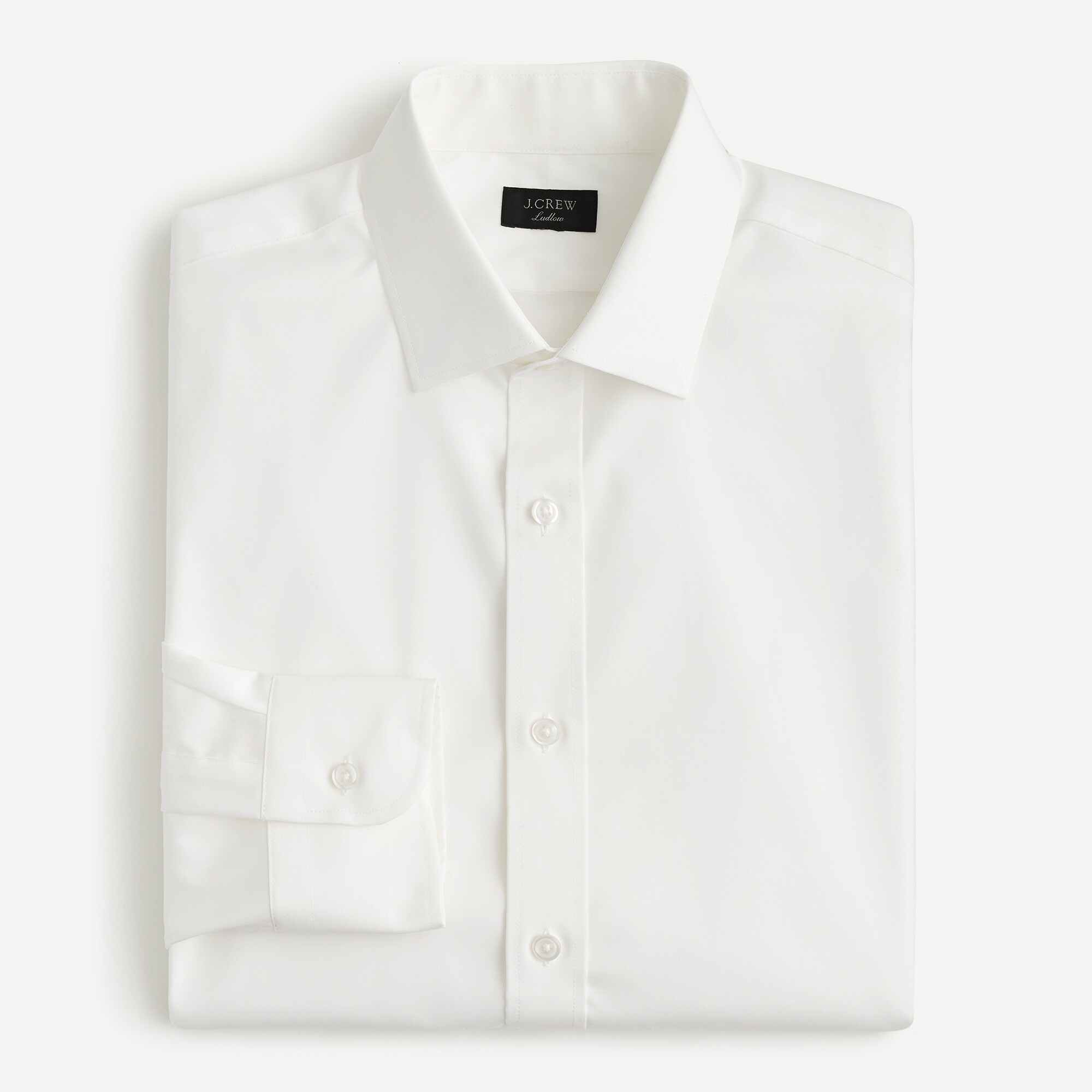 mens Ludlow stretch two-ply easy-care cotton dress shirt in solid