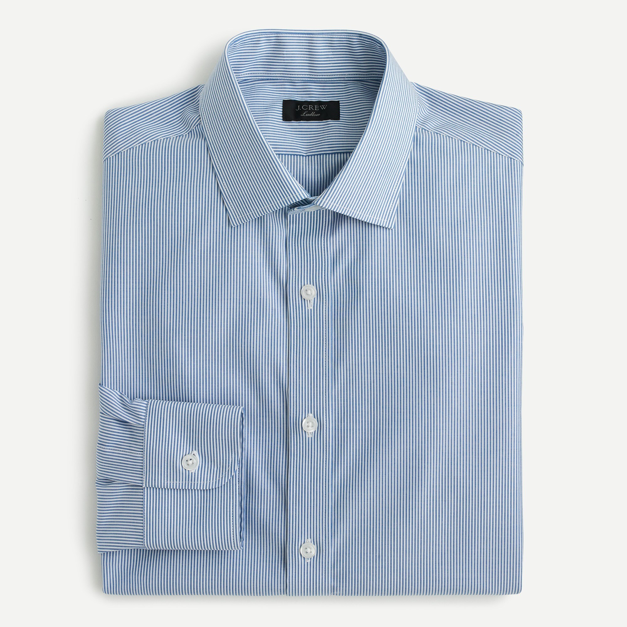 mens Ludlow Slim-fit stretch two-ply easy-care cotton dress shirt in blue microstripe