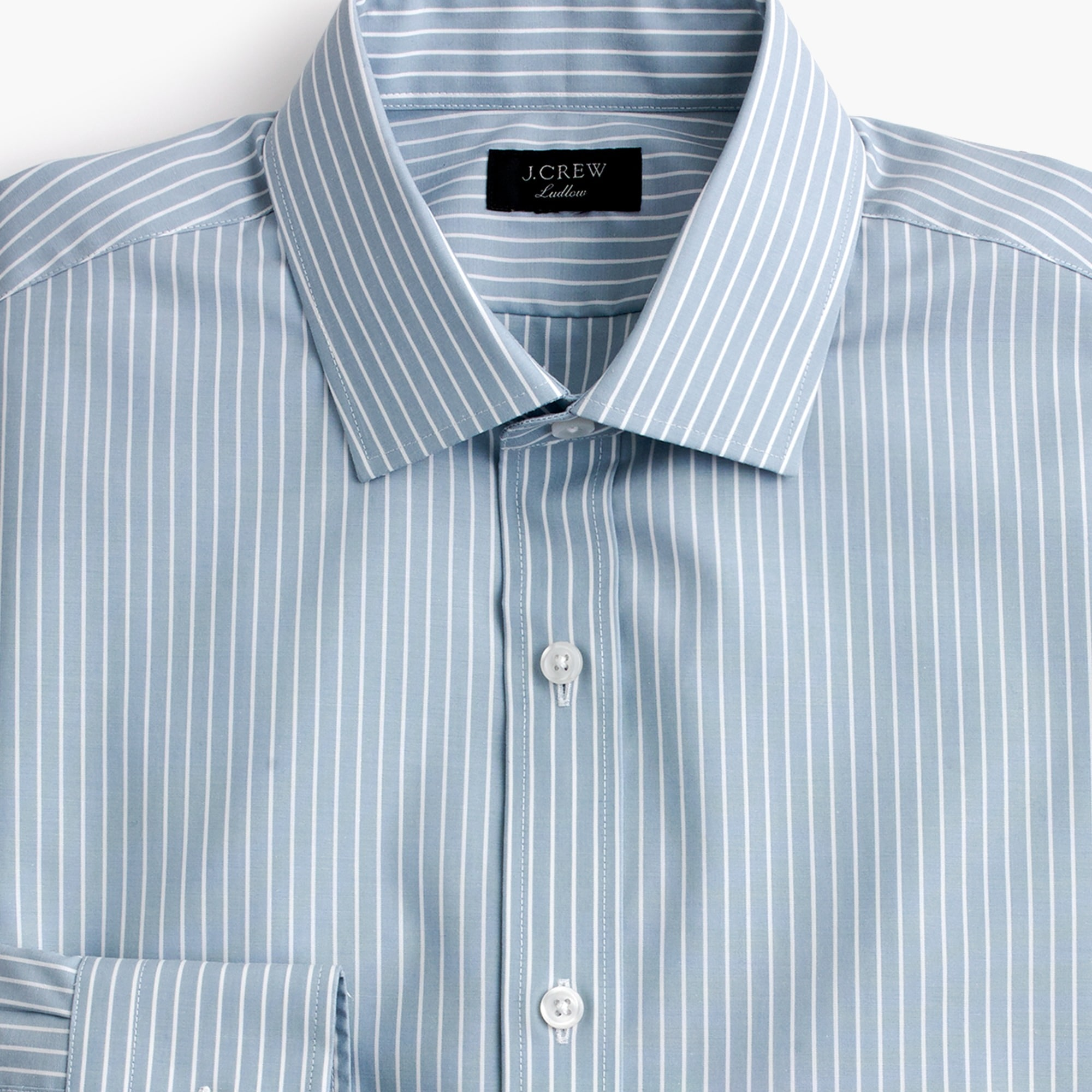 Image 2 for Ludlow stretch two-ply easy-care cotton dress shirt in blue stripe