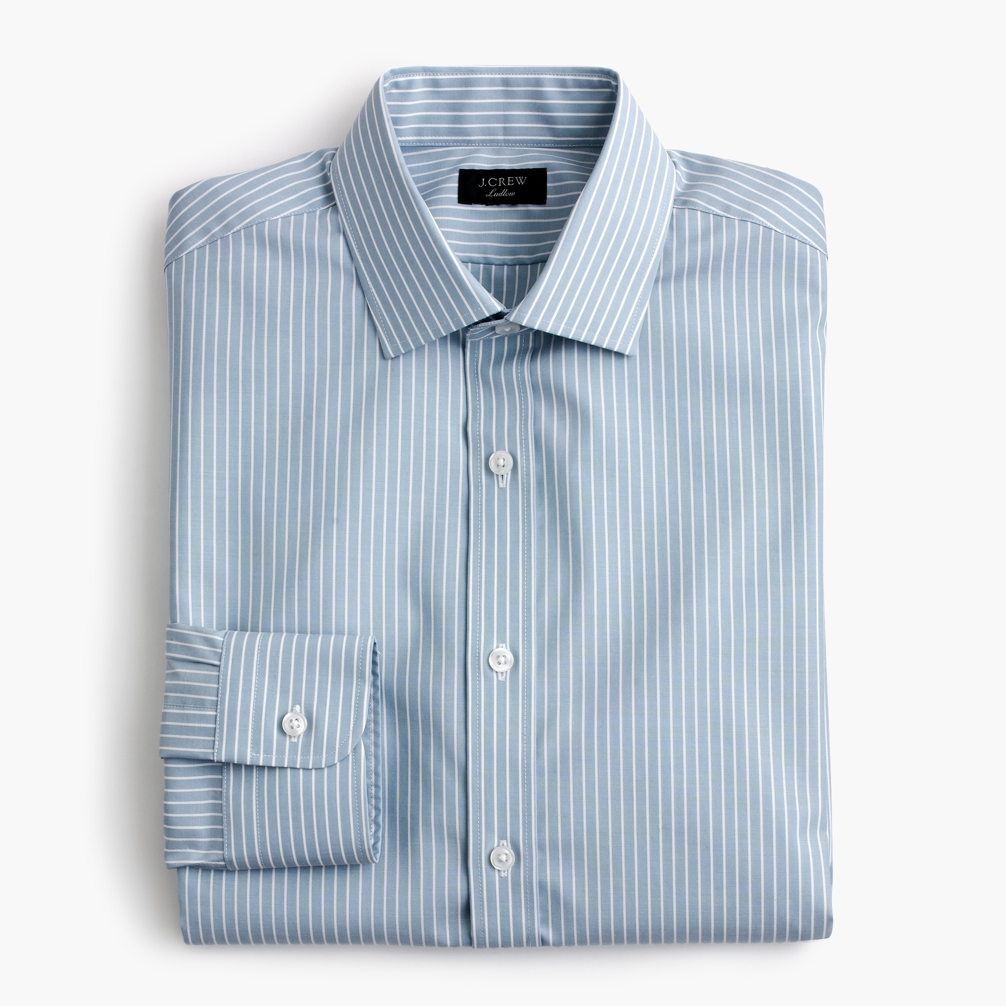 Image 1 for Ludlow stretch two-ply easy-care cotton dress shirt in blue stripe