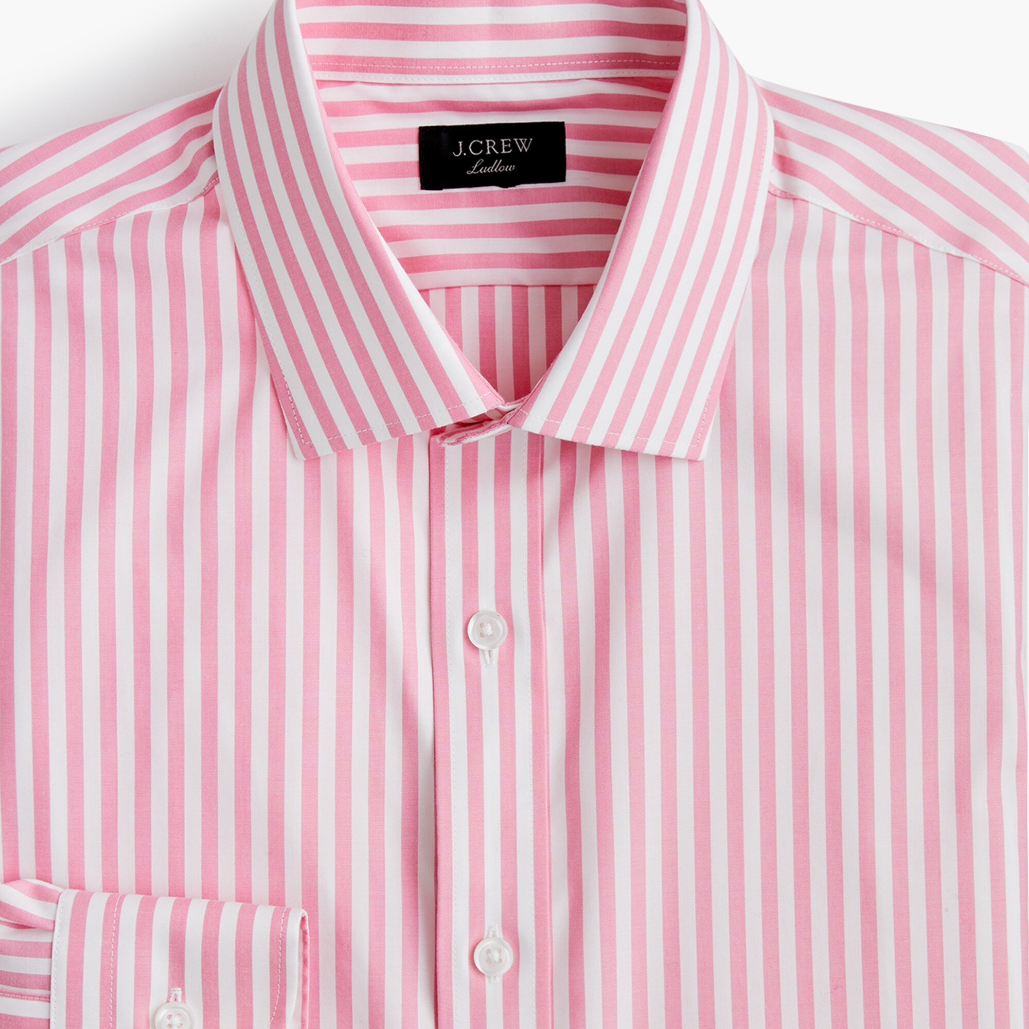 mens Ludlow Slim-fit stretch two-ply easy-care cotton dress shirt in pink stripe
