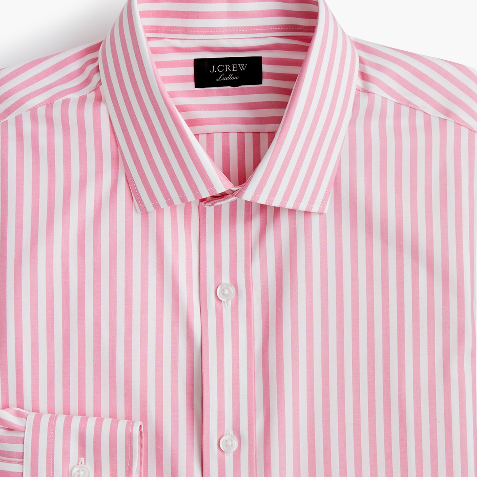 mens Ludlow stretch two-ply easy-care cotton dress shirt in pink stripe