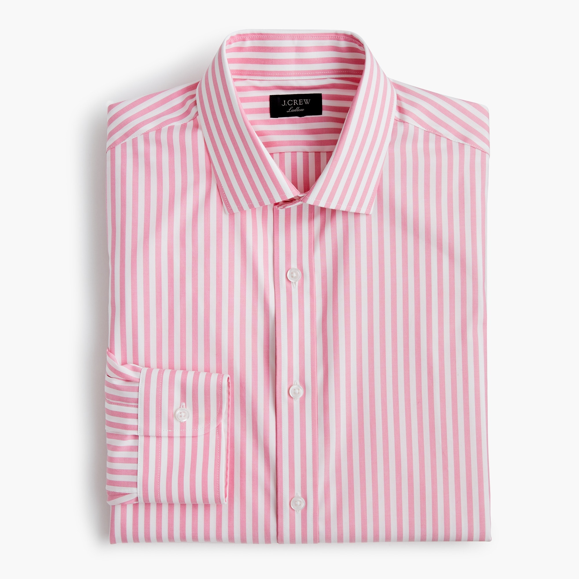 Ludlow Slim-fit stretch two-ply easy-care cotton dress shirt in pink stripe