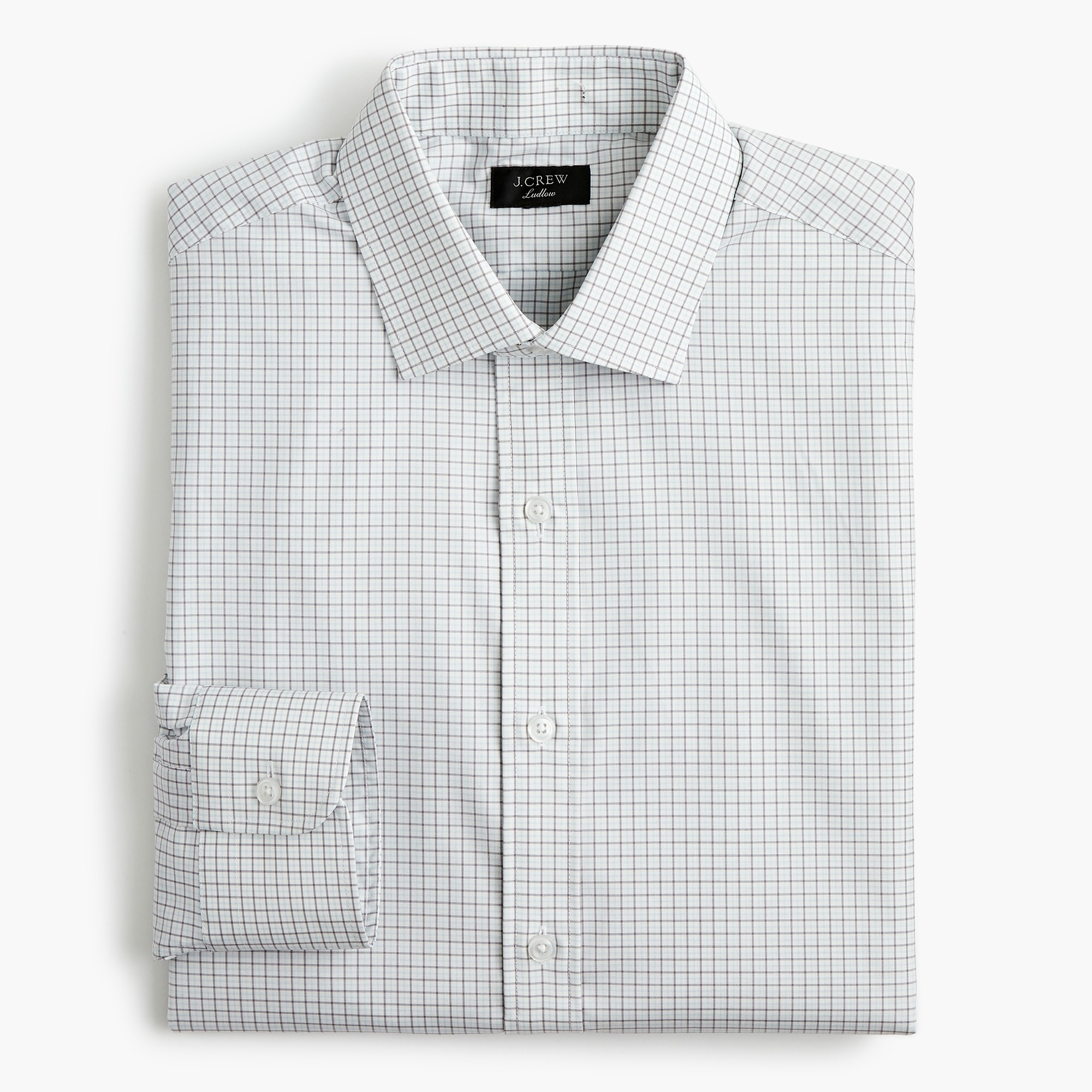 mens Ludlow Slim-fit stretch two-ply easy-care cotton dress shirt in micro-tattersall