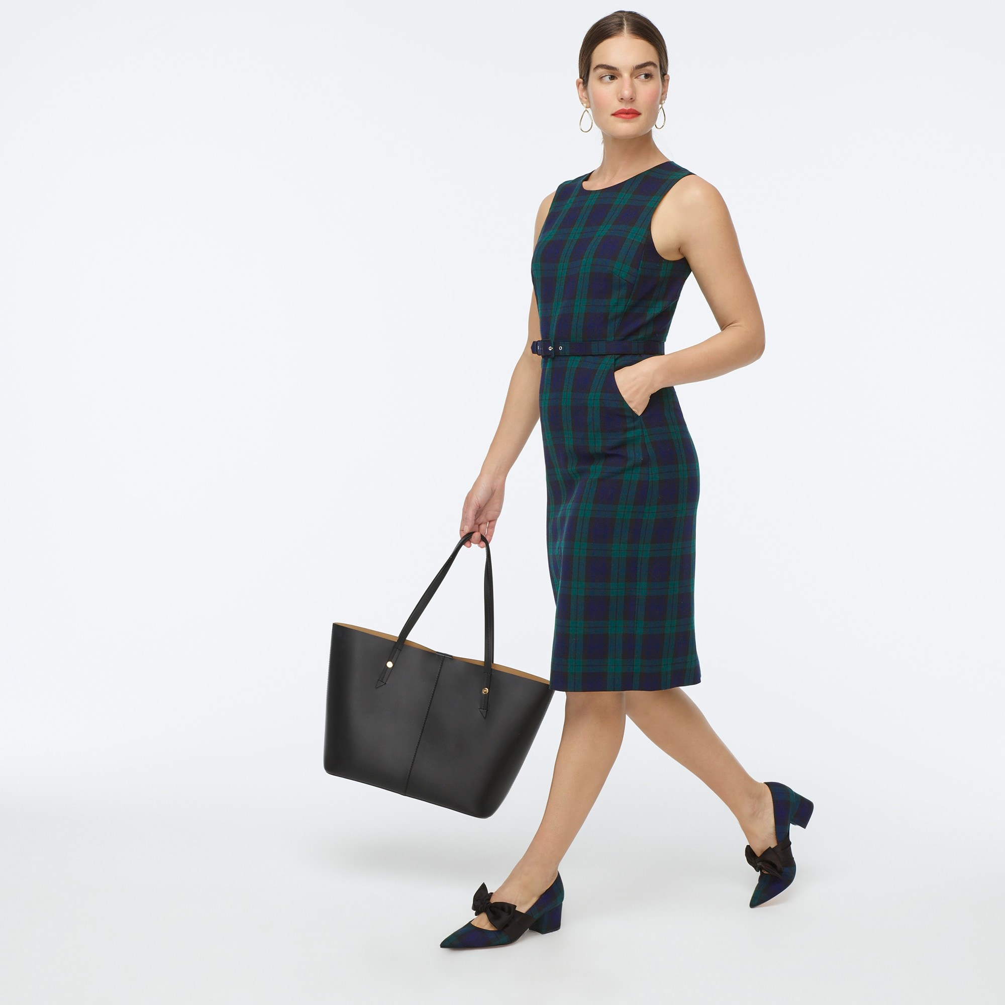 womens Belted sheath dress in Black Watch tartan