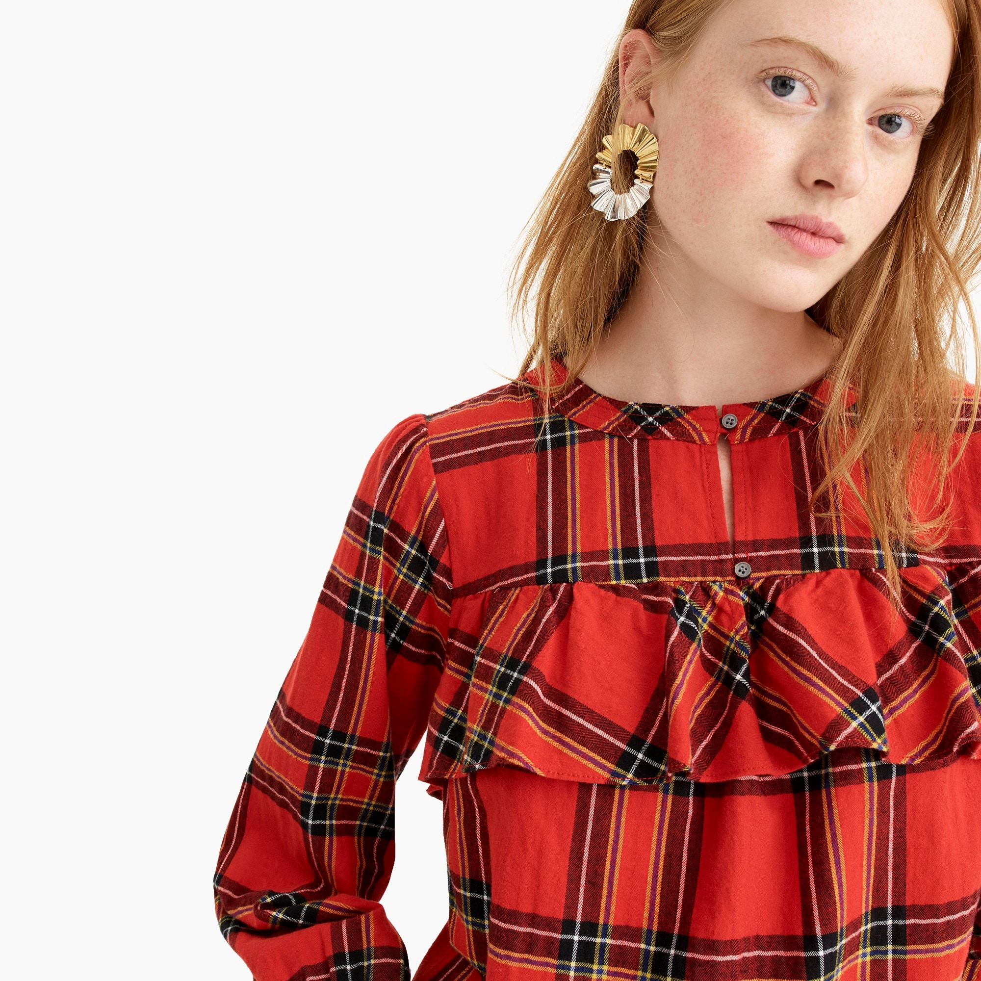 Petite ruffle top in festive plaid