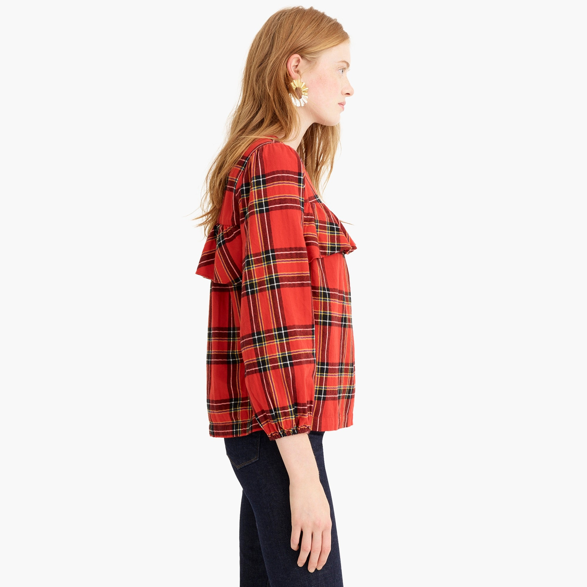 Ruffle top in festive plaid