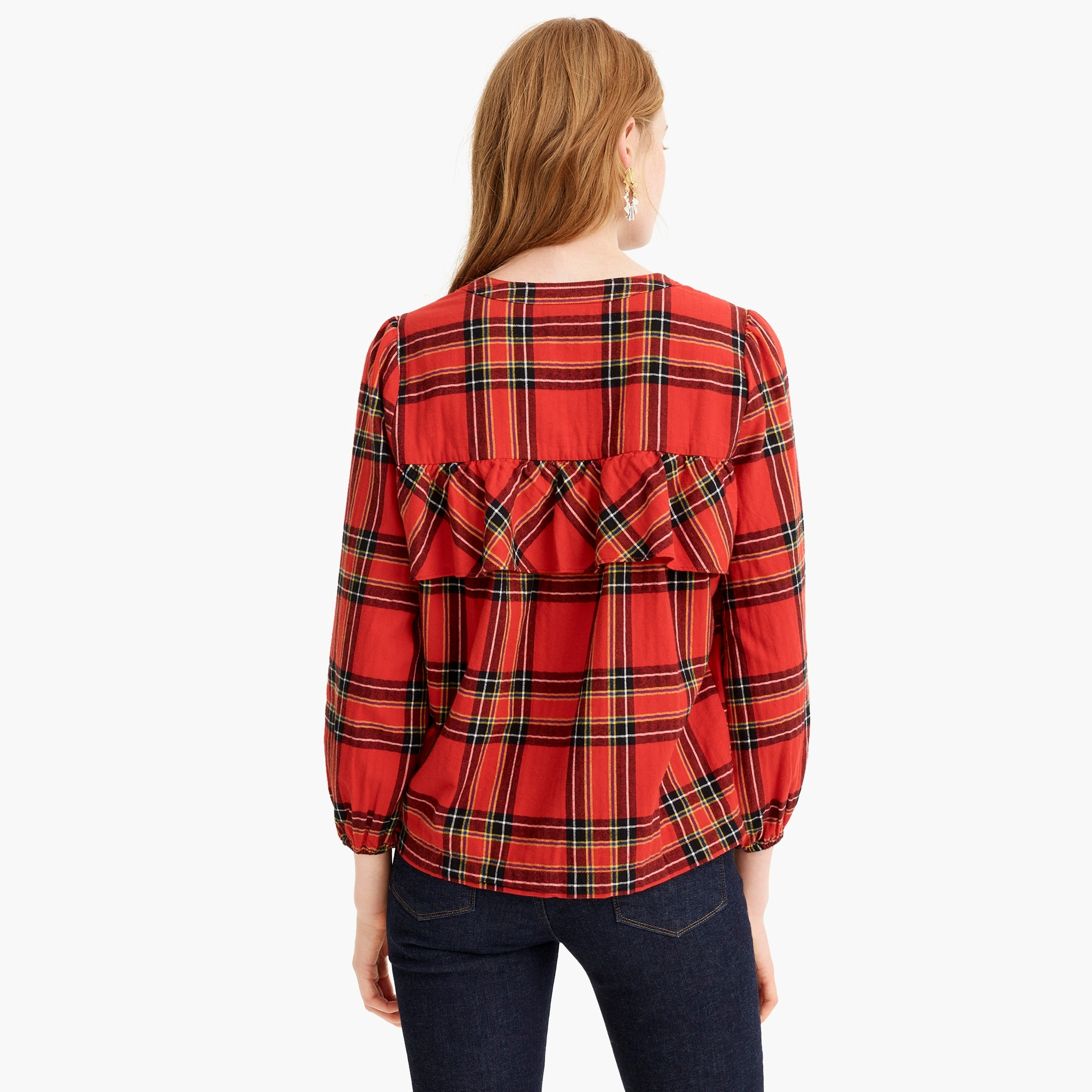 Image 5 for Ruffle top in festive plaid
