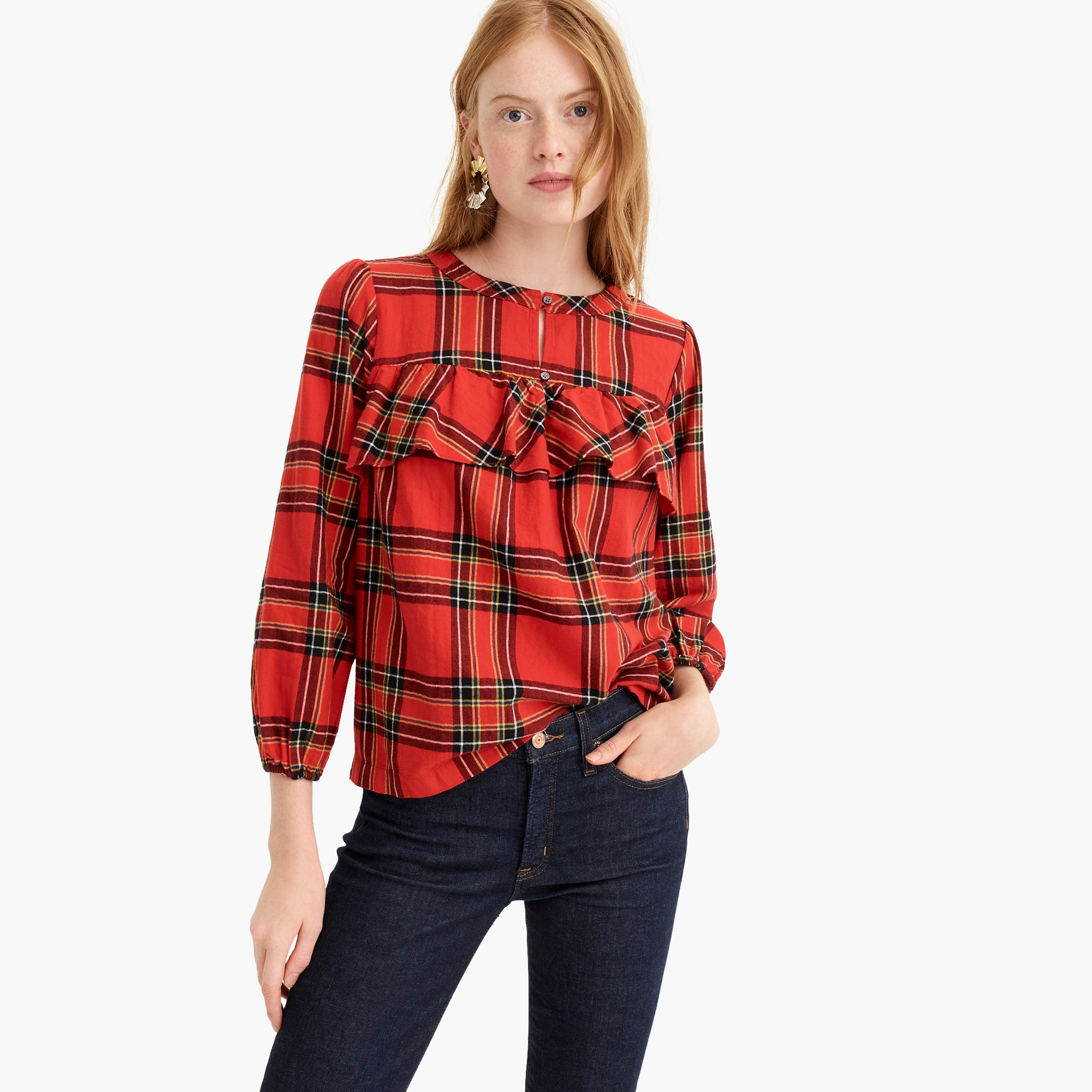Image 1 for Ruffle top in festive plaid