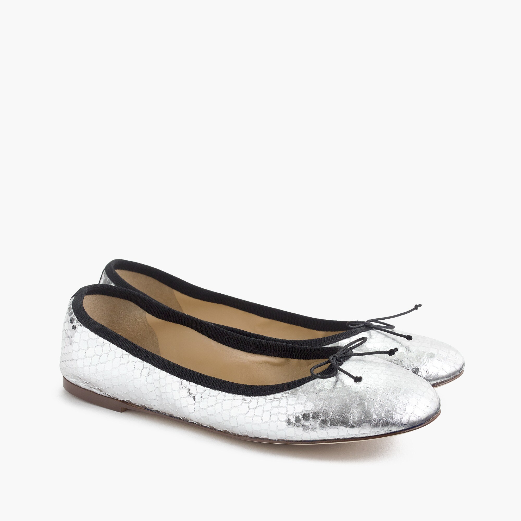 women's evie ballet flats in mirrored silver - women's footwear