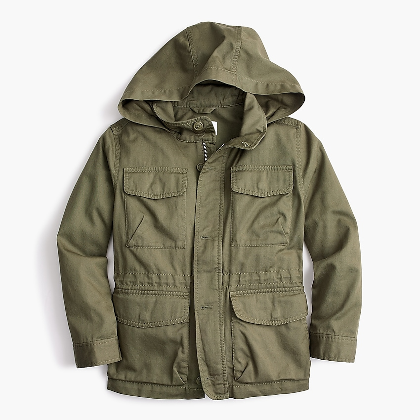 j.crew: boys' field mechanic jacket, right side, view zoomed