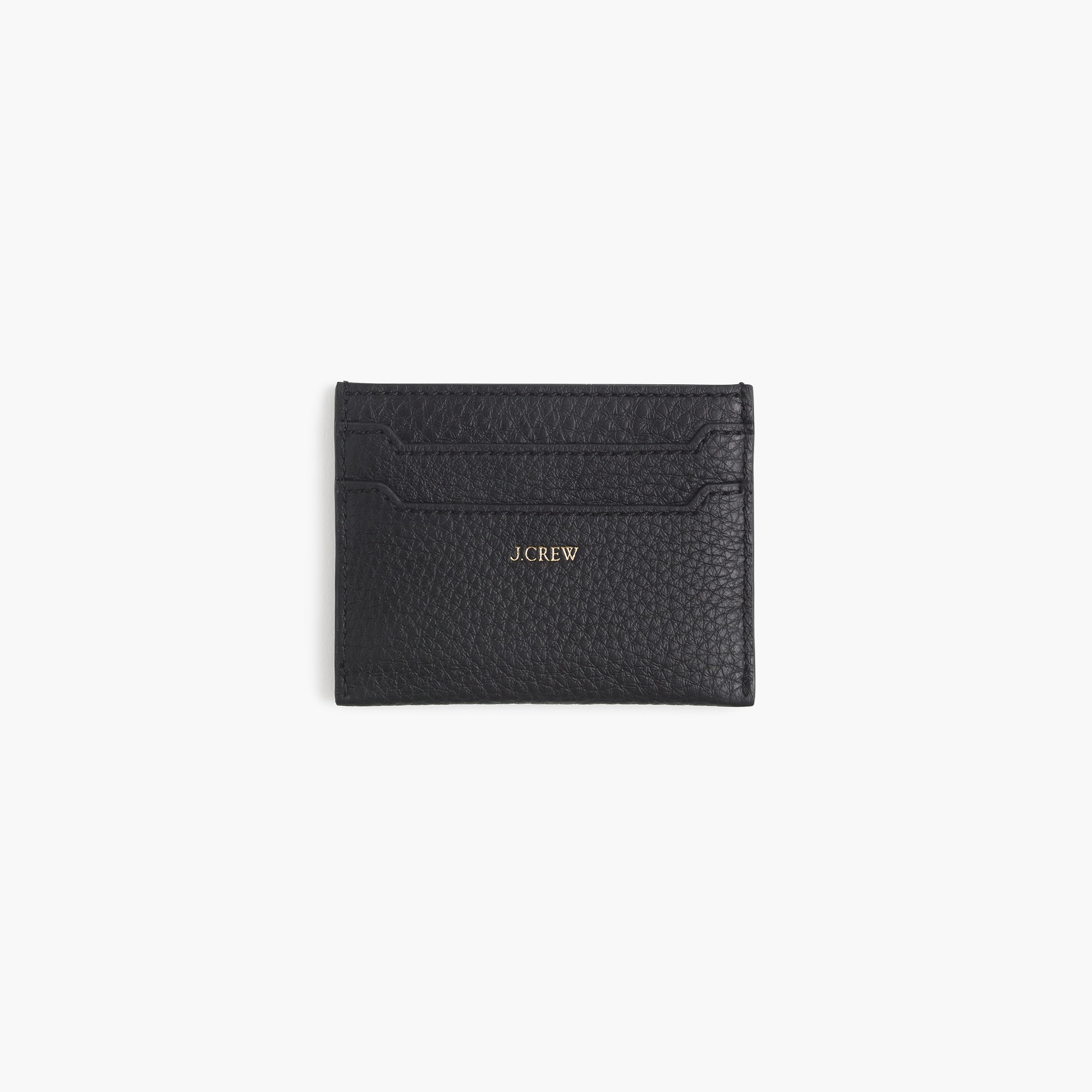 women's slim card case in pebbled leather - women's bags