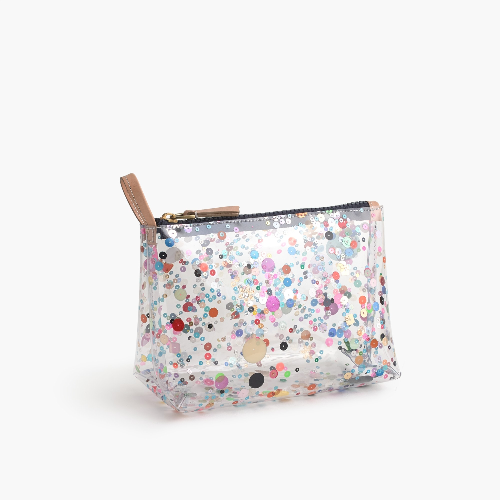 girls Vinyl makeup pouch with oversize glitter