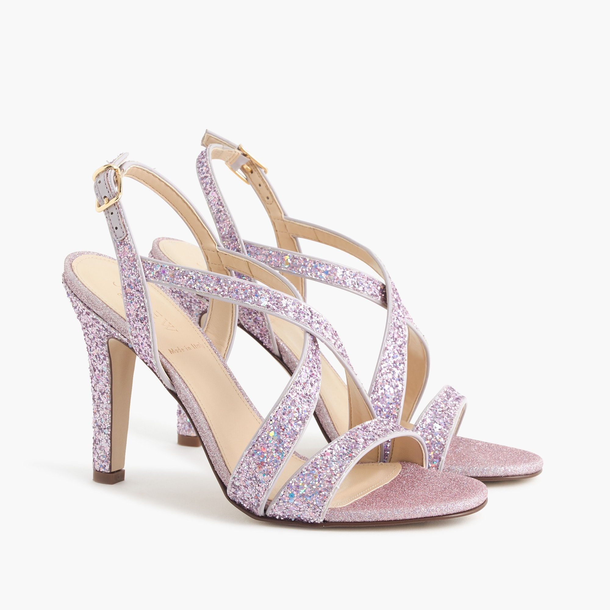 women's crisscross strappy heels (105mm) in glitter - women's footwear
