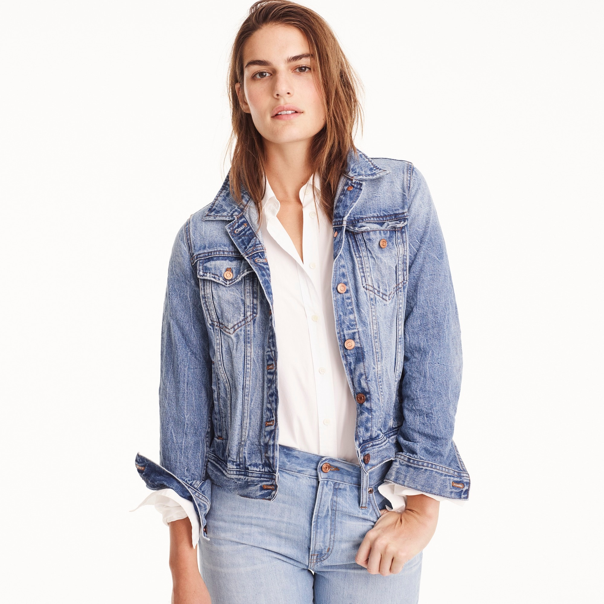 women's petite classic denim jacket - women's outerwear & jackets