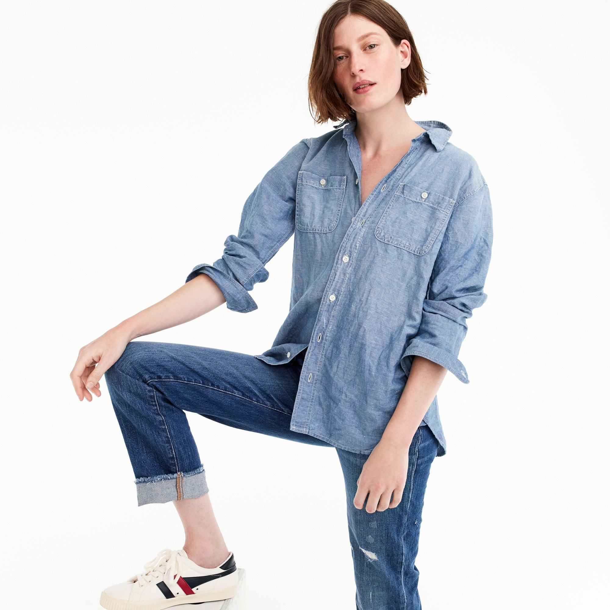 women's tall relaxed chambray boy shirt - women's shirts