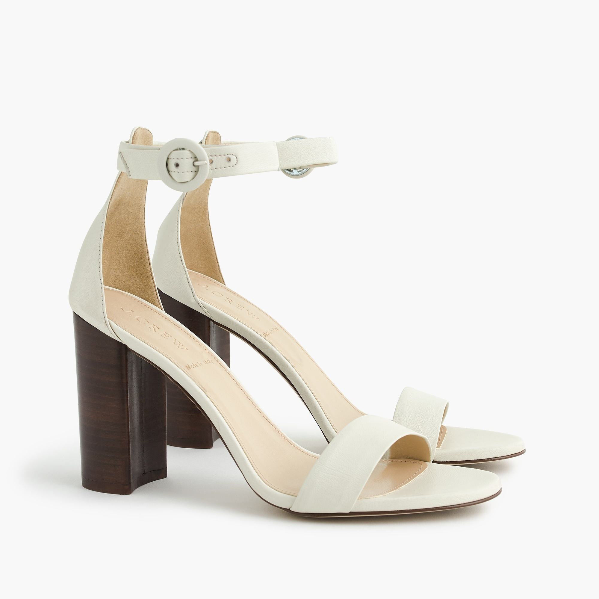 Ankle strap stacked-heel sandals (100mm)