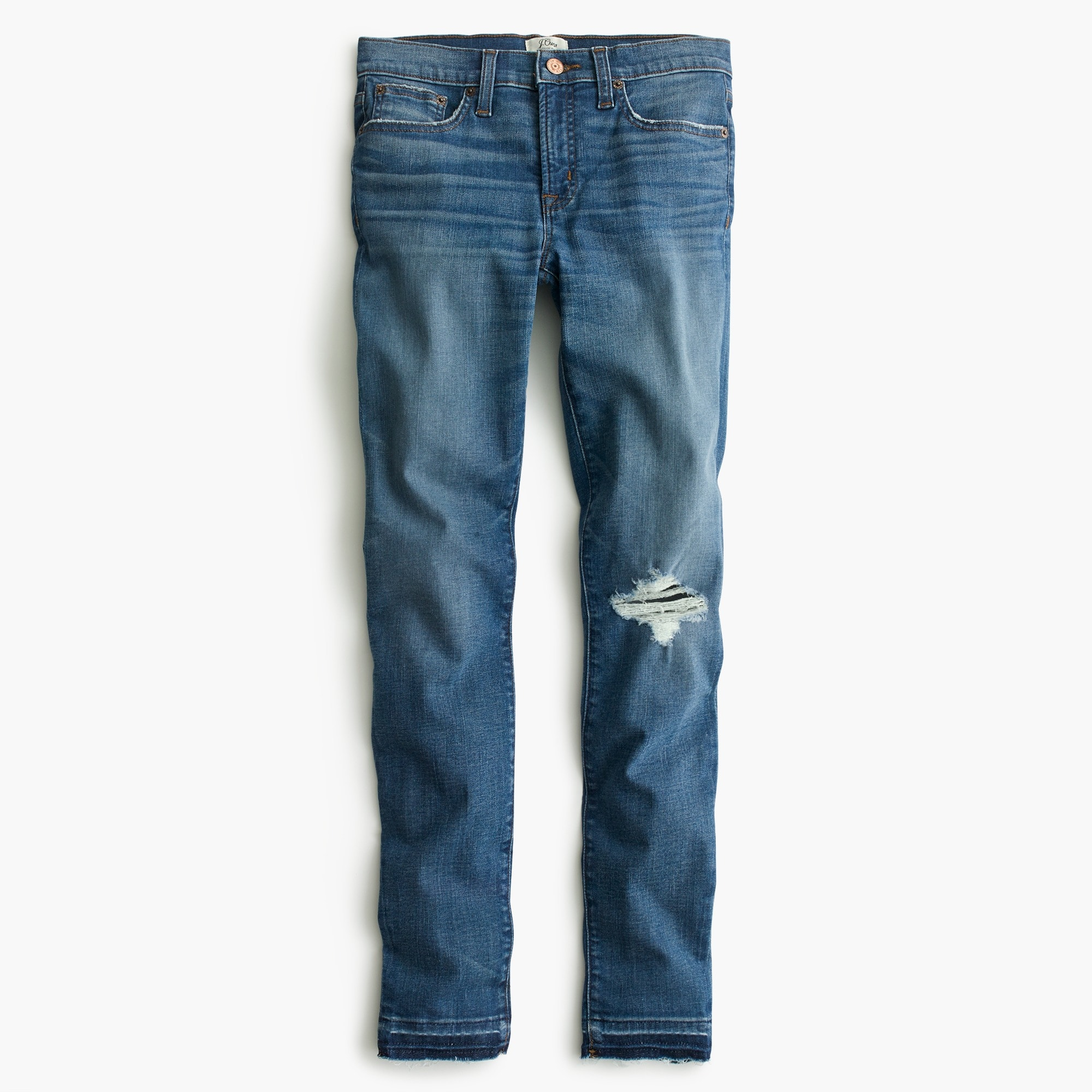 "Tall 8"" toothpick jean in Newcastle wash with let-down hem"