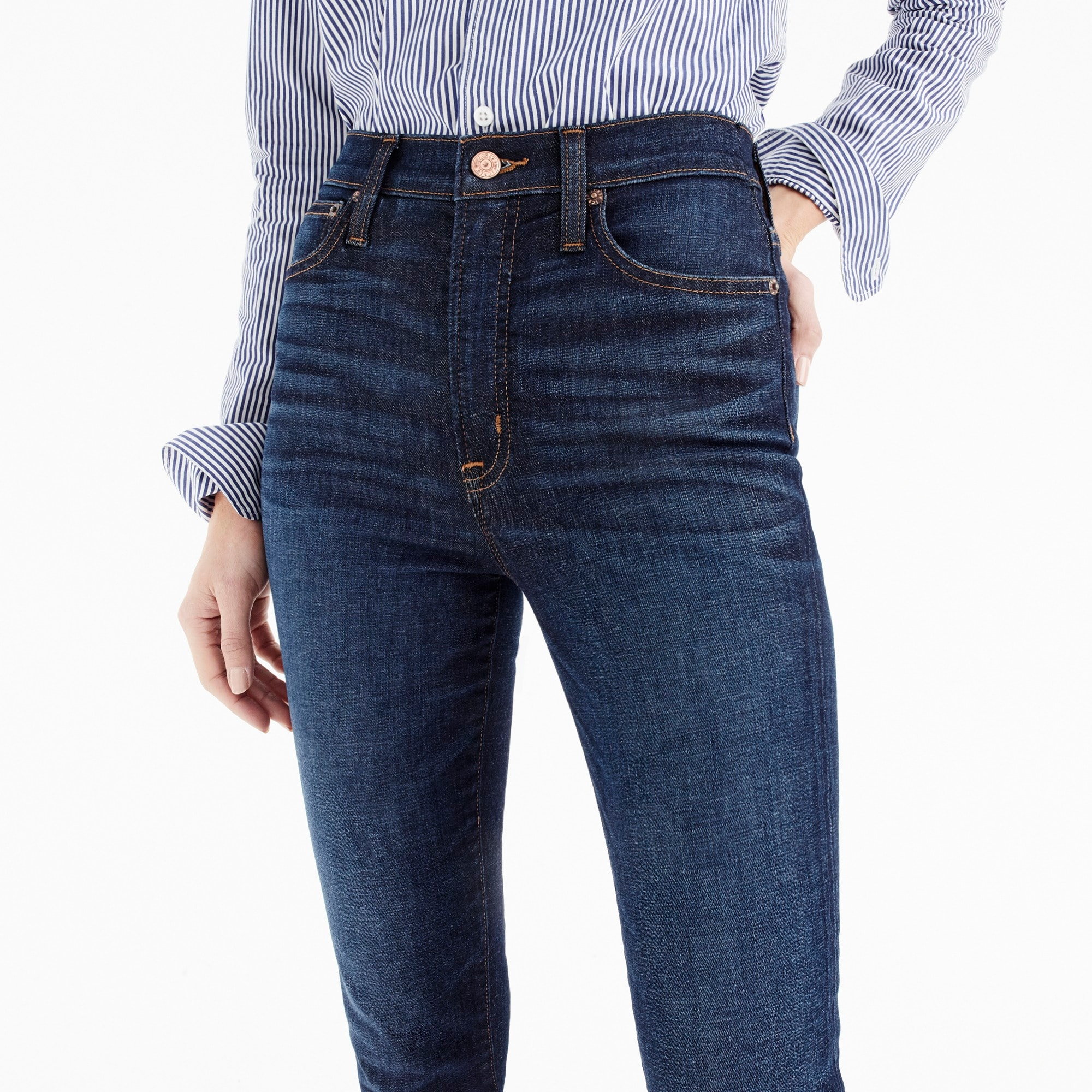 "Image 3 for Petite 10"" highest-rise toothpick jean in medium wash"