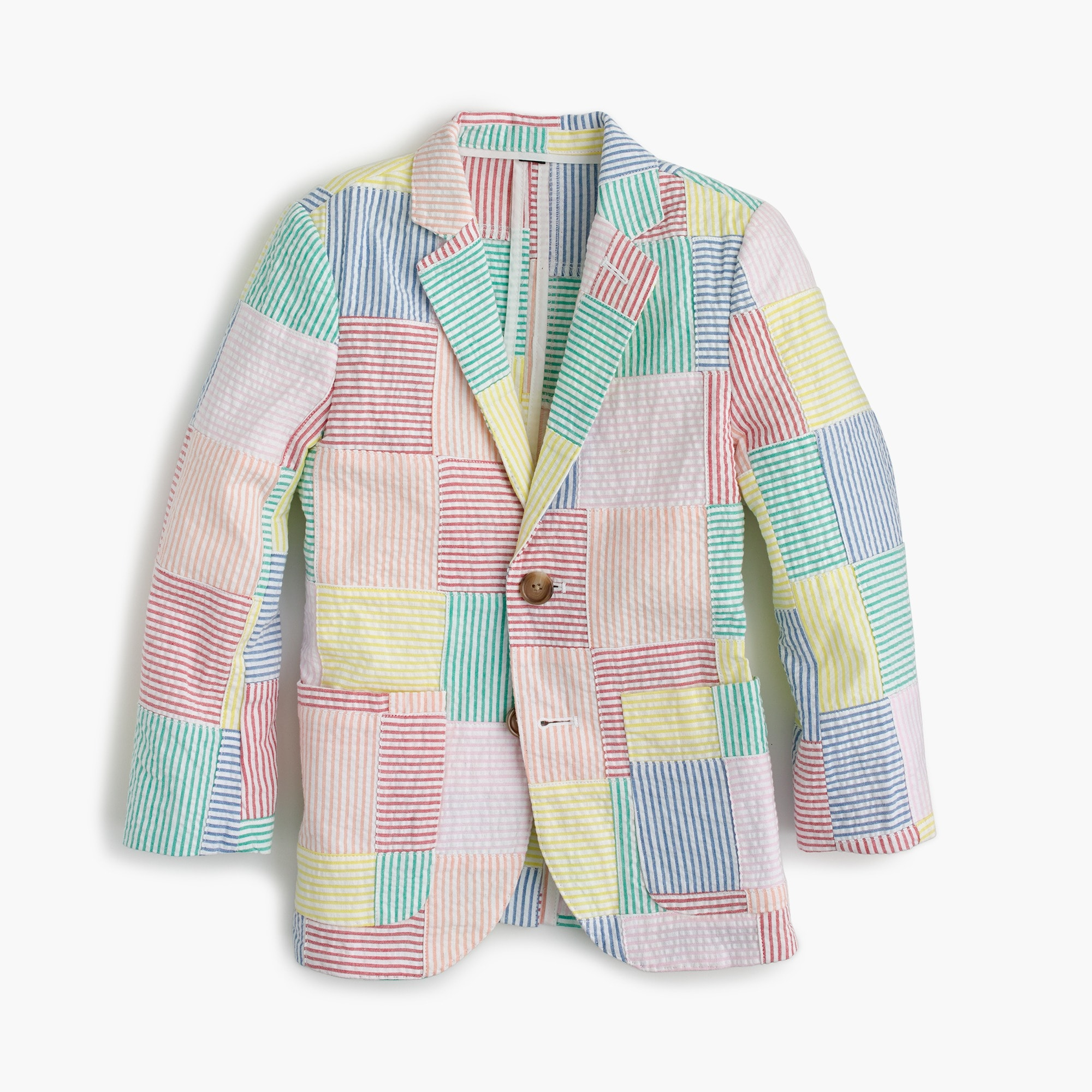 Boys' Ludlow blazer in patchwork seersucker