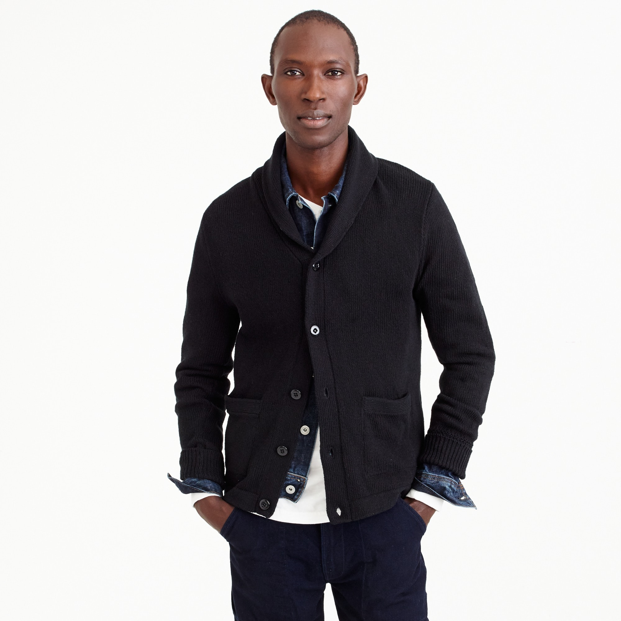 Varsity shawl-collar cardigan in textured cotton men sweaters c