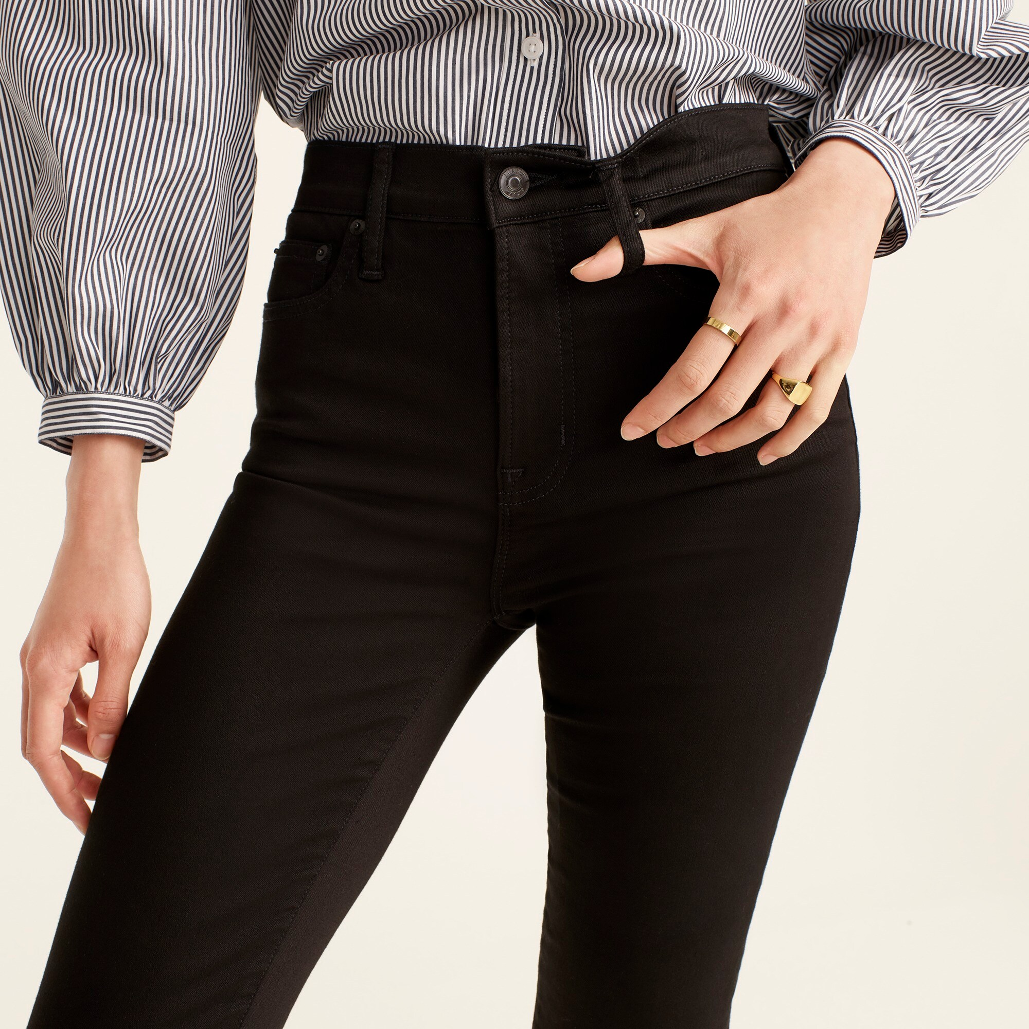 "Image 3 for Tall 10"" highest-rise toothpick jean in true black"