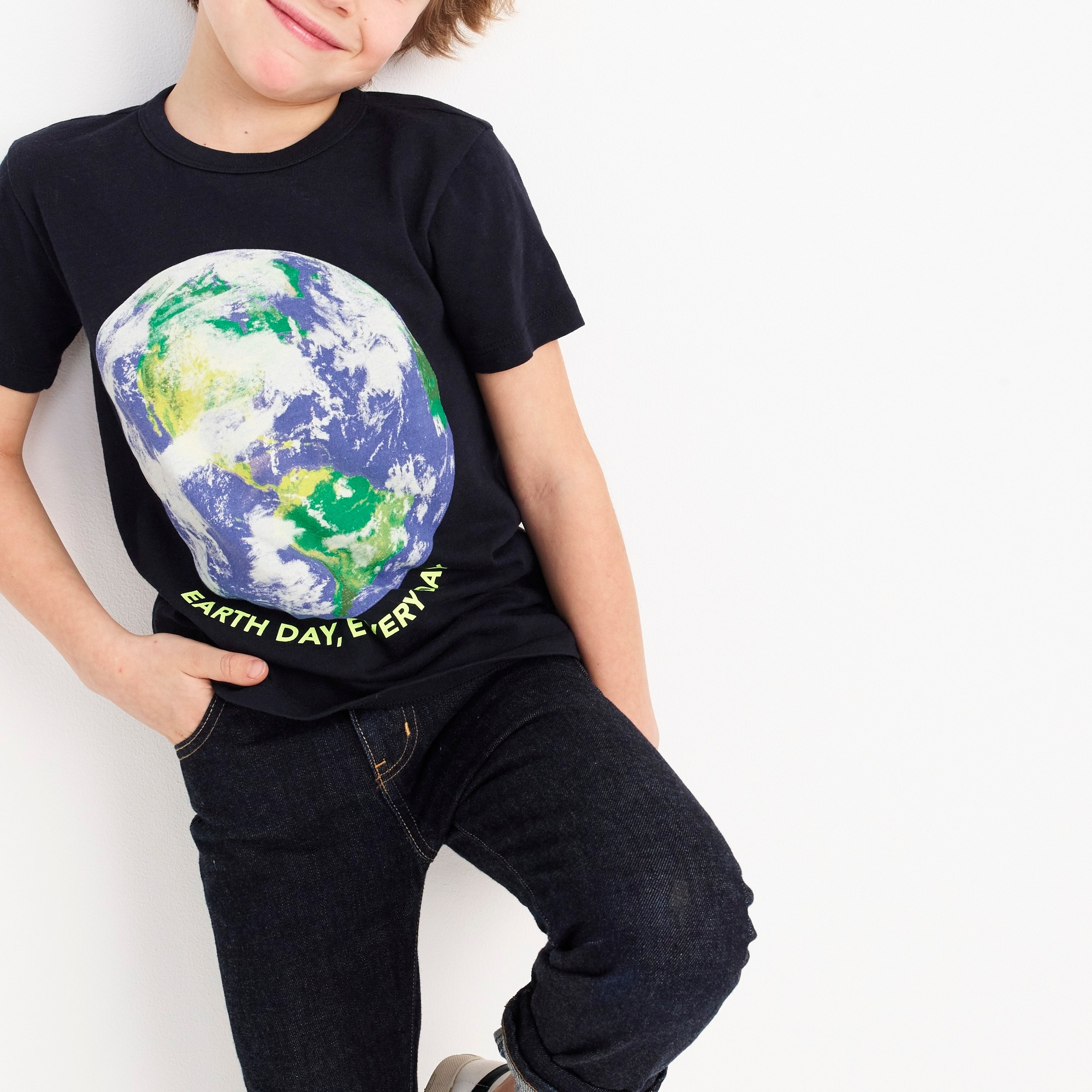 Kids' glow-in-the-dark Earth Day T-shirt girl graphics shop c