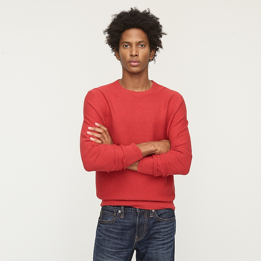 j.crew: cotton crewneck sweater in garter stitch for men, right side, view zoomed