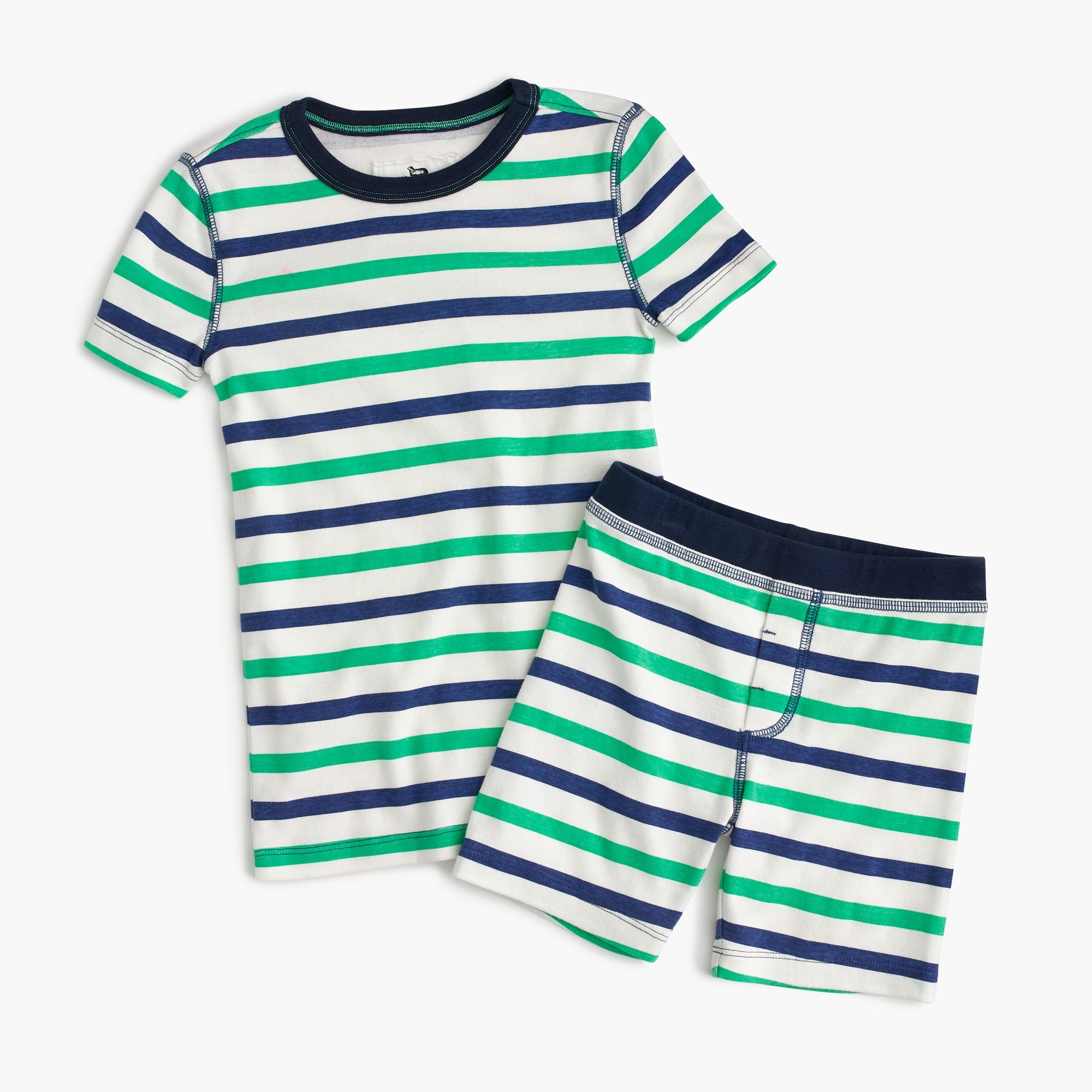 Kids' short pajama set in cabana stripes boy pajamas c