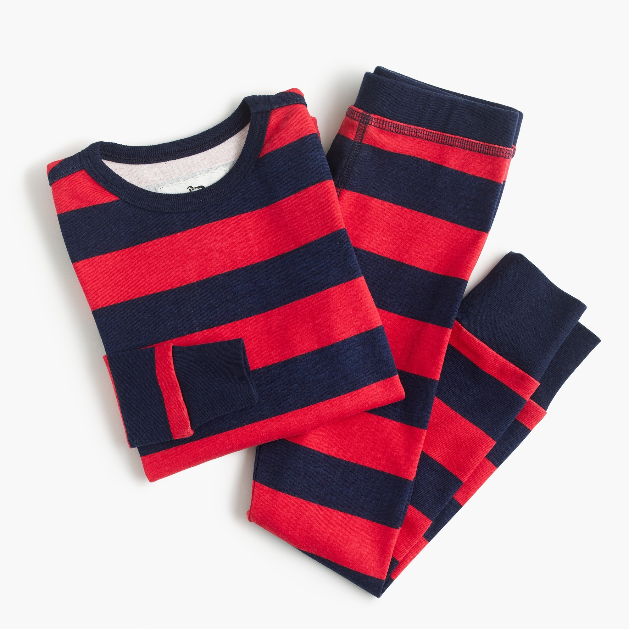 Kids' pajama set in red stripes