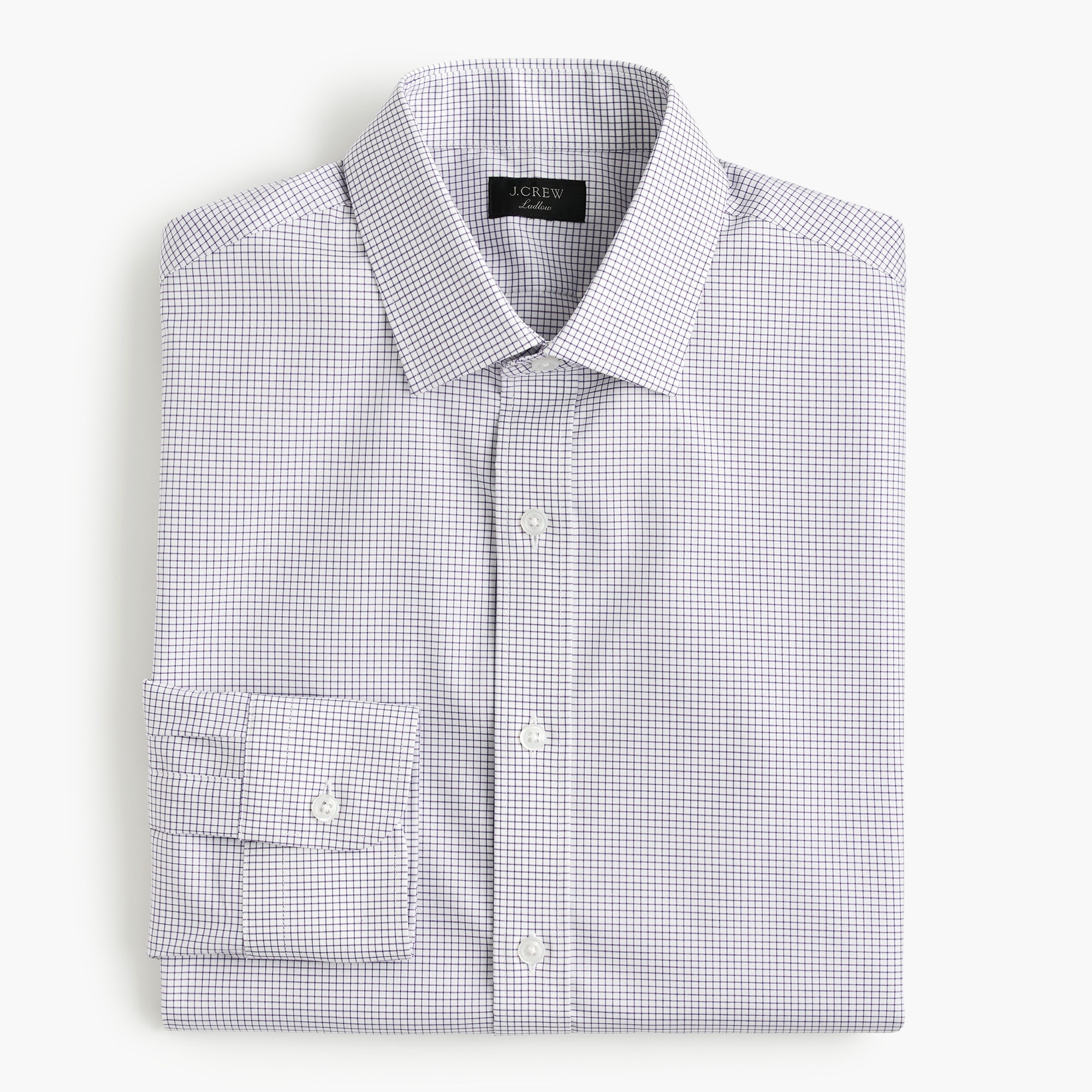 mens Ludlow stretch two-ply easy-care cotton dress shirt in microcheck
