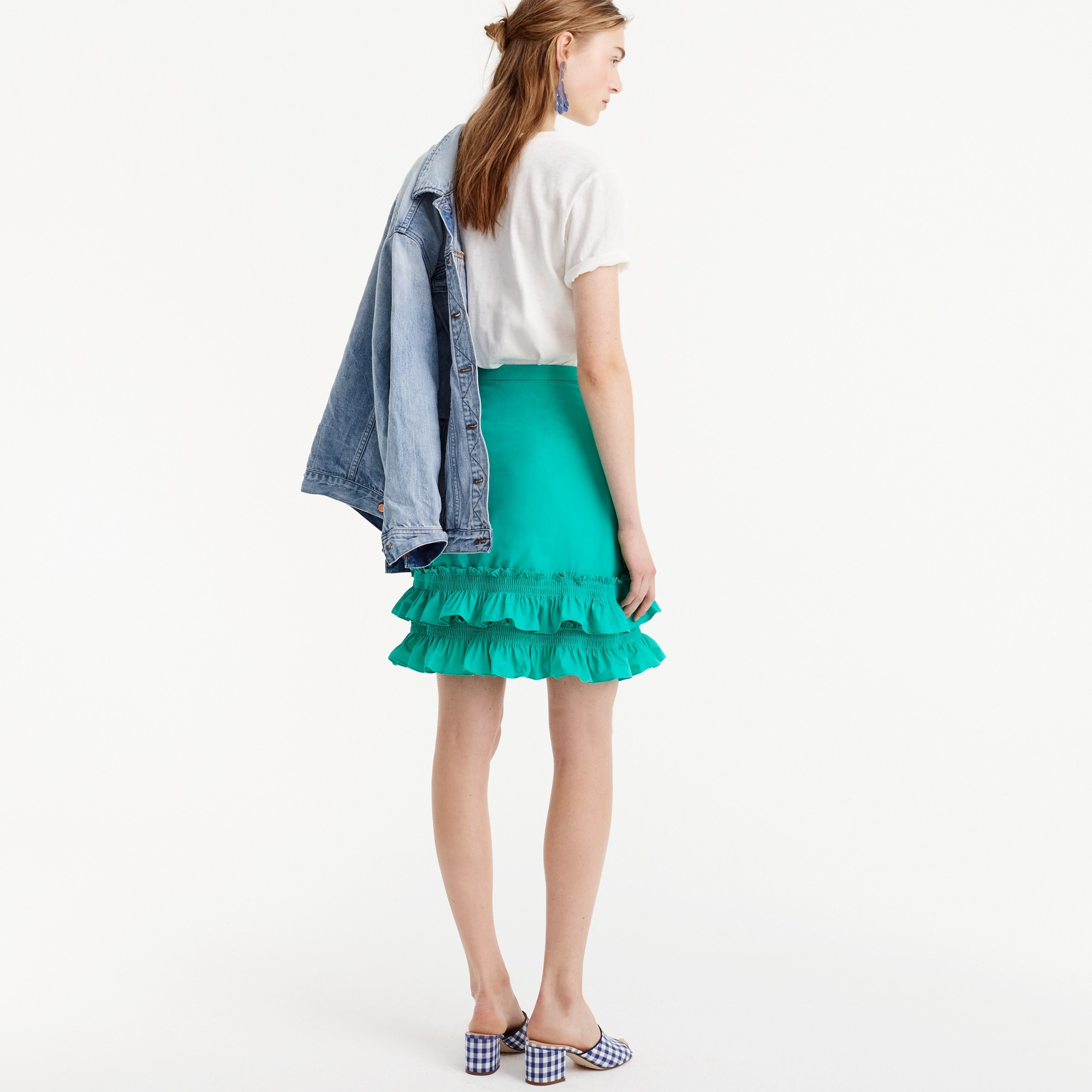 Ruffle skirt in cotton-poplin