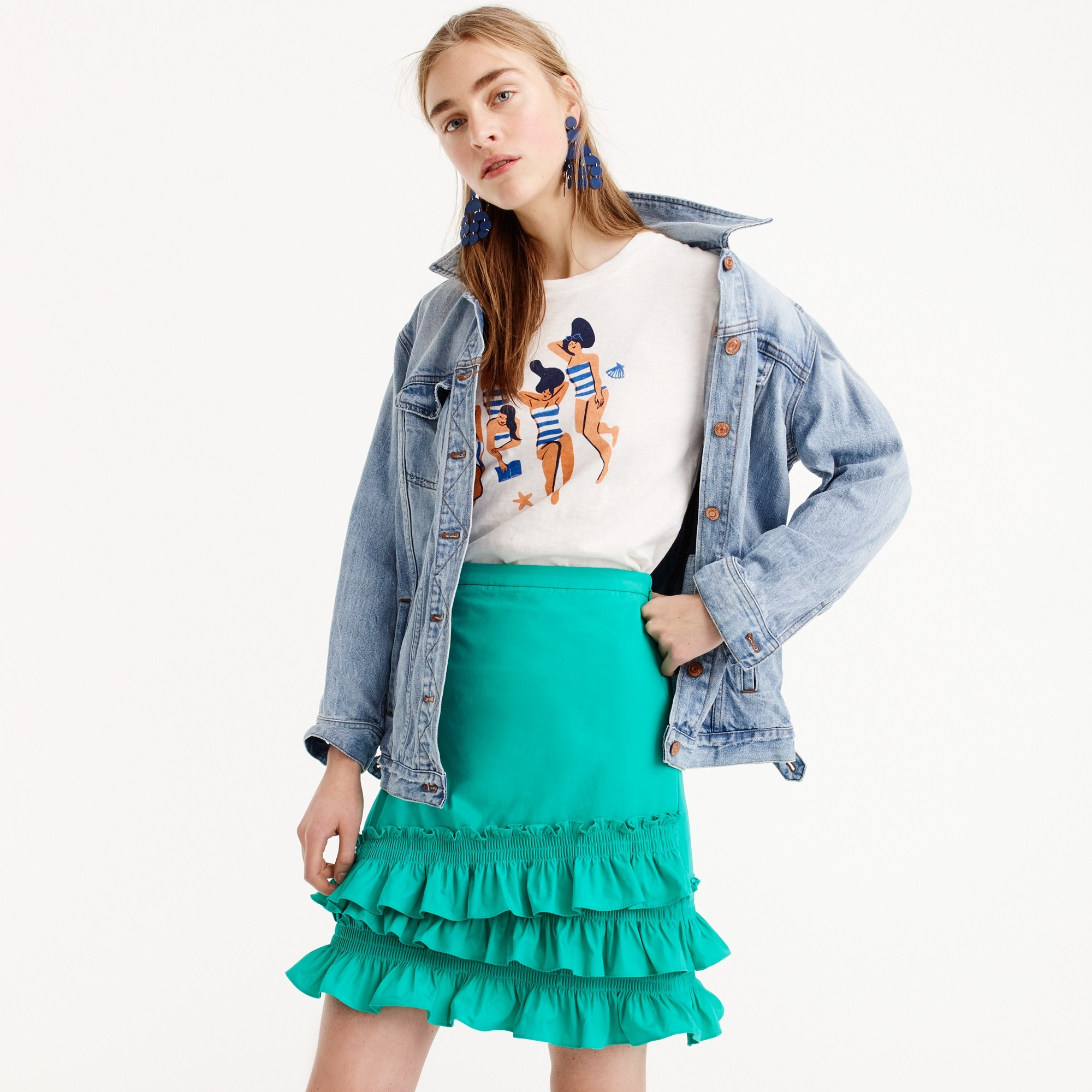 Tall ruffle skirt in cotton-poplin