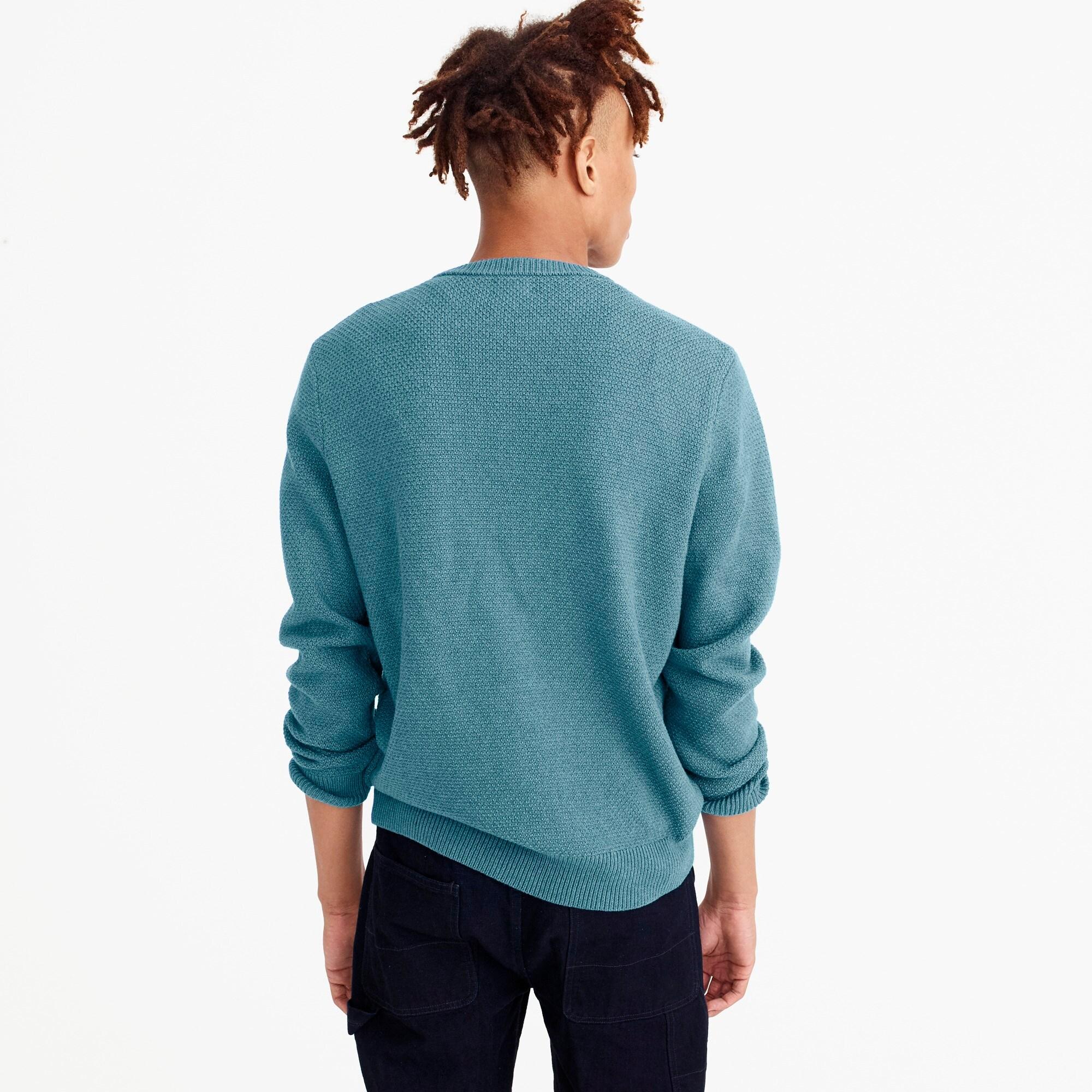Cotton crewneck sweater in moss stitch