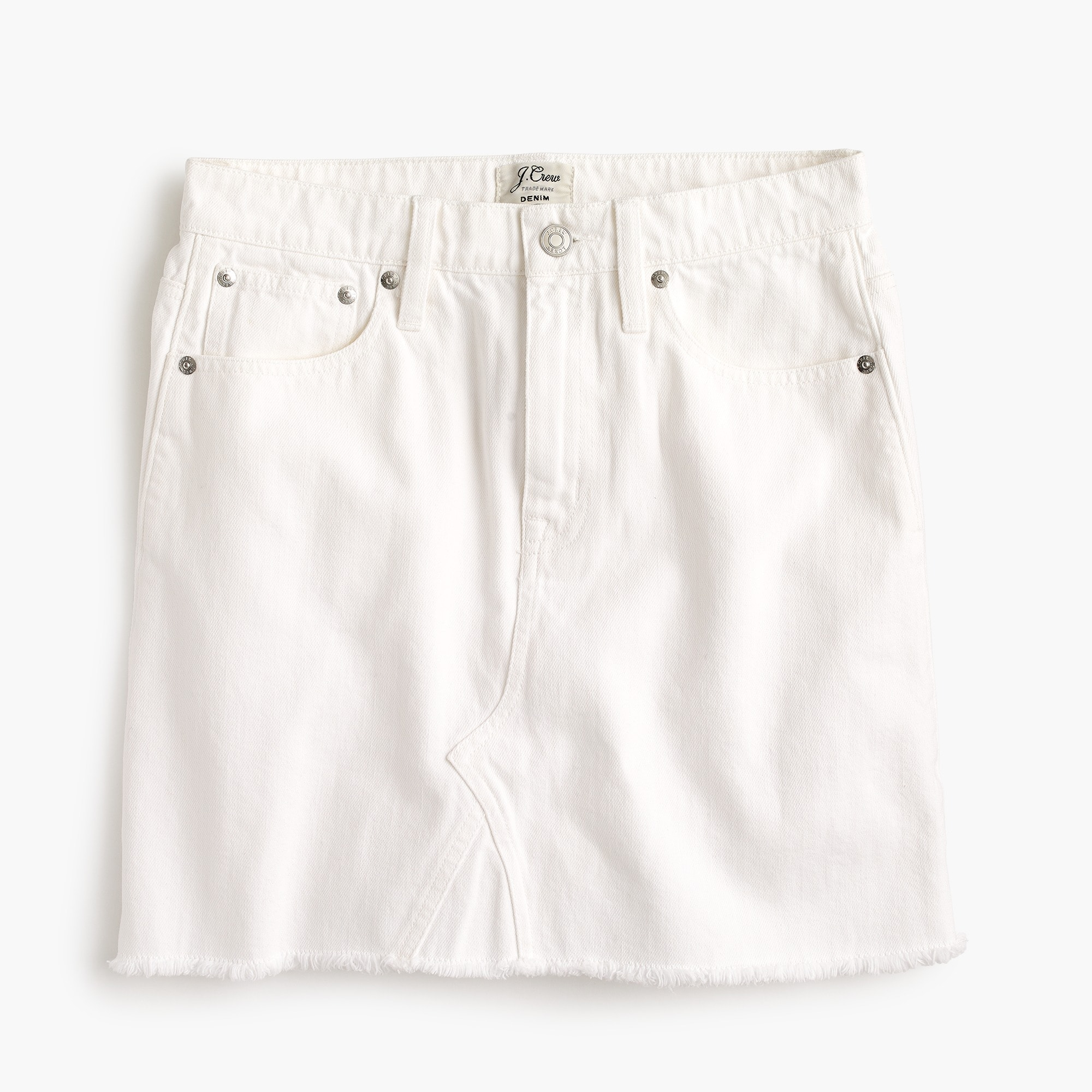 Petite white denim skirt