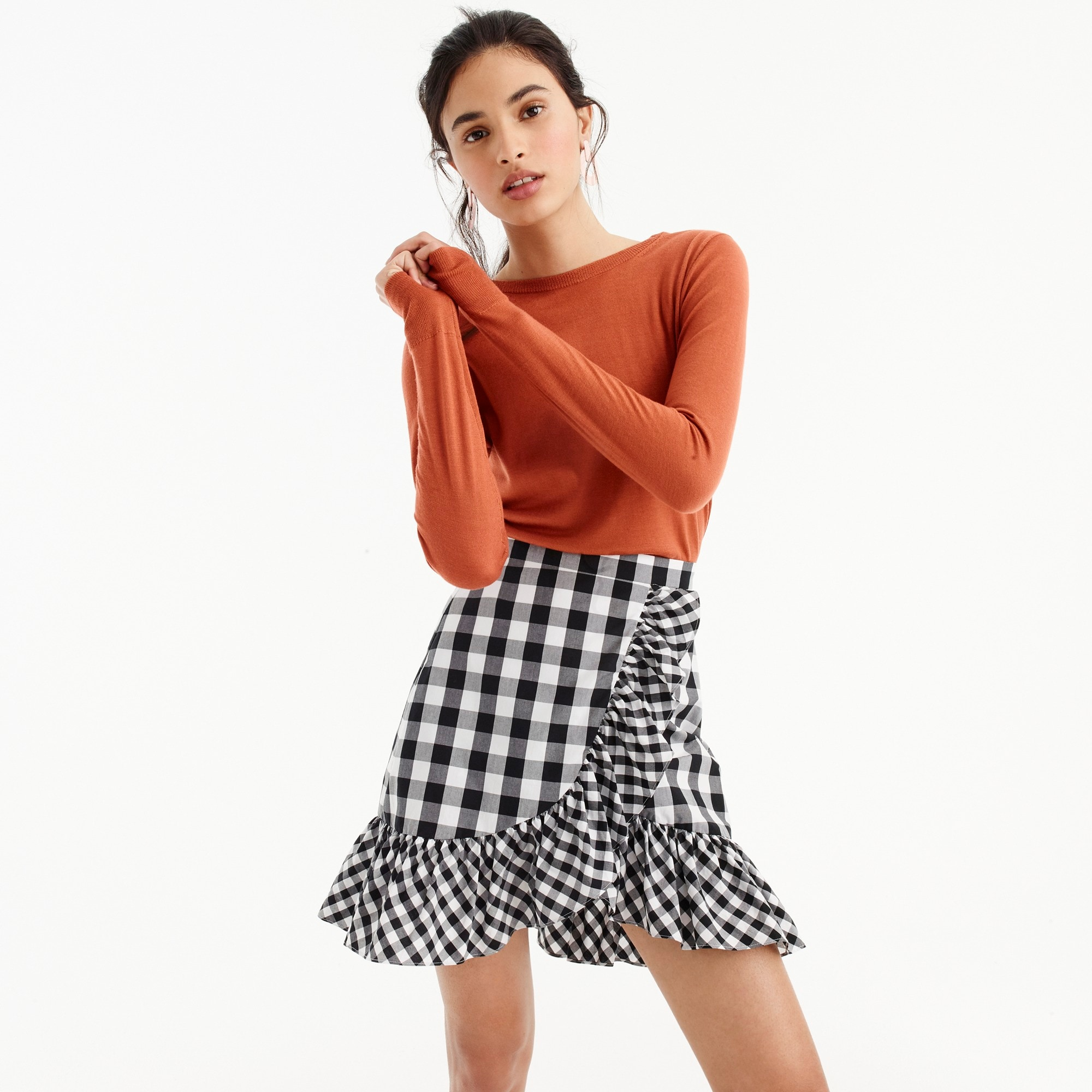 women's ruffle mini skirt in gingham - women's skirts