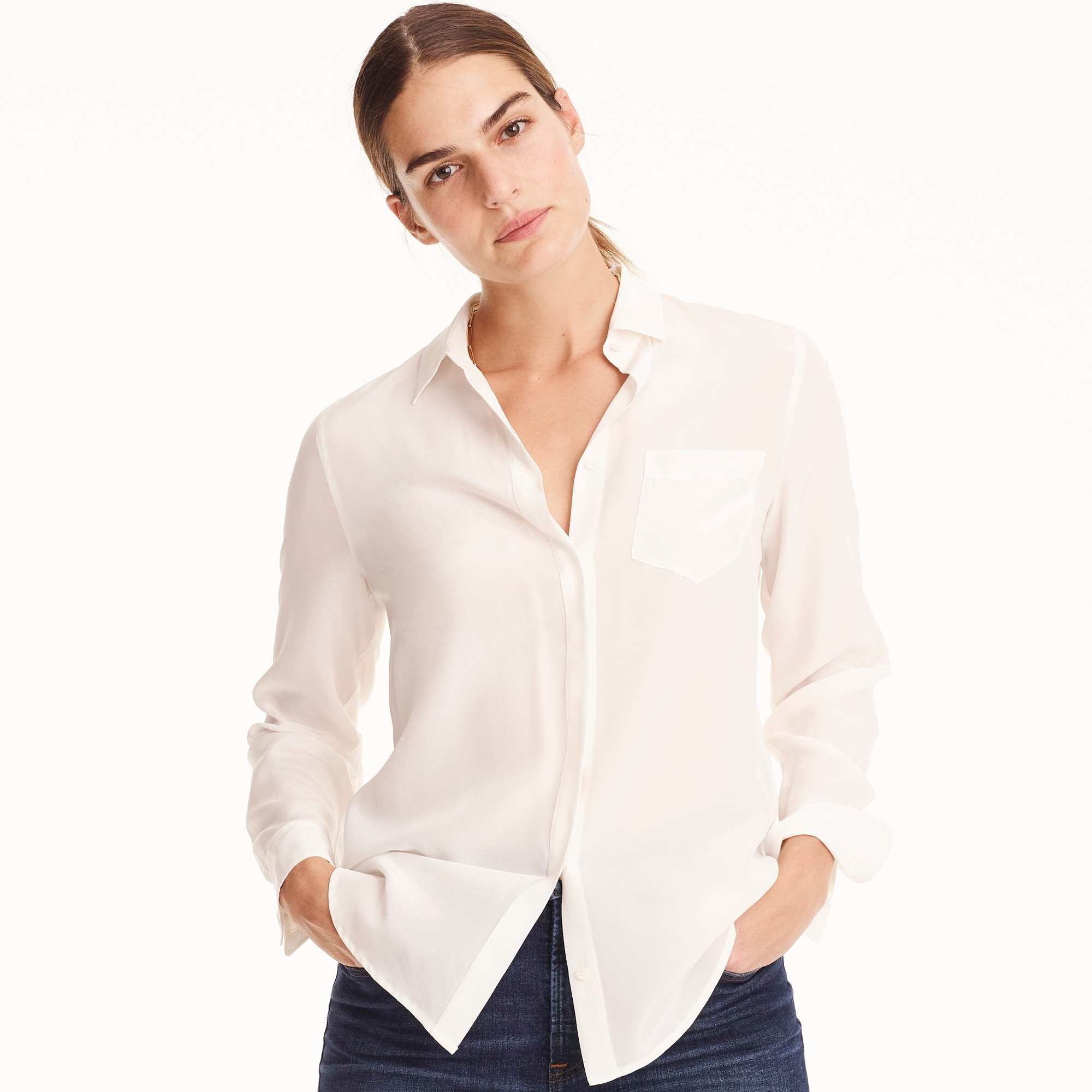 womens Petite silk button-up shirt