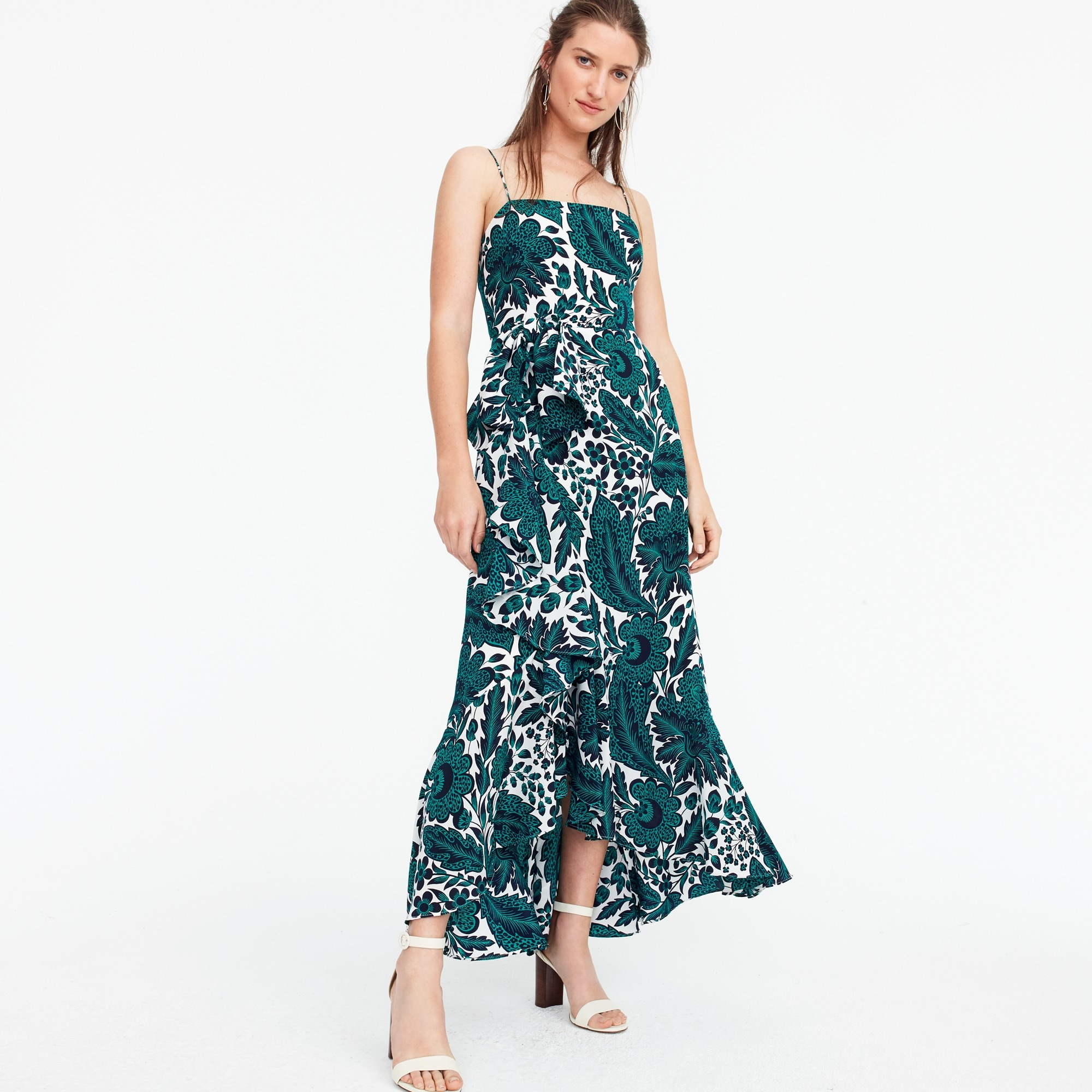 Ruffle hi-low silk dress in tropical floral women dresses c